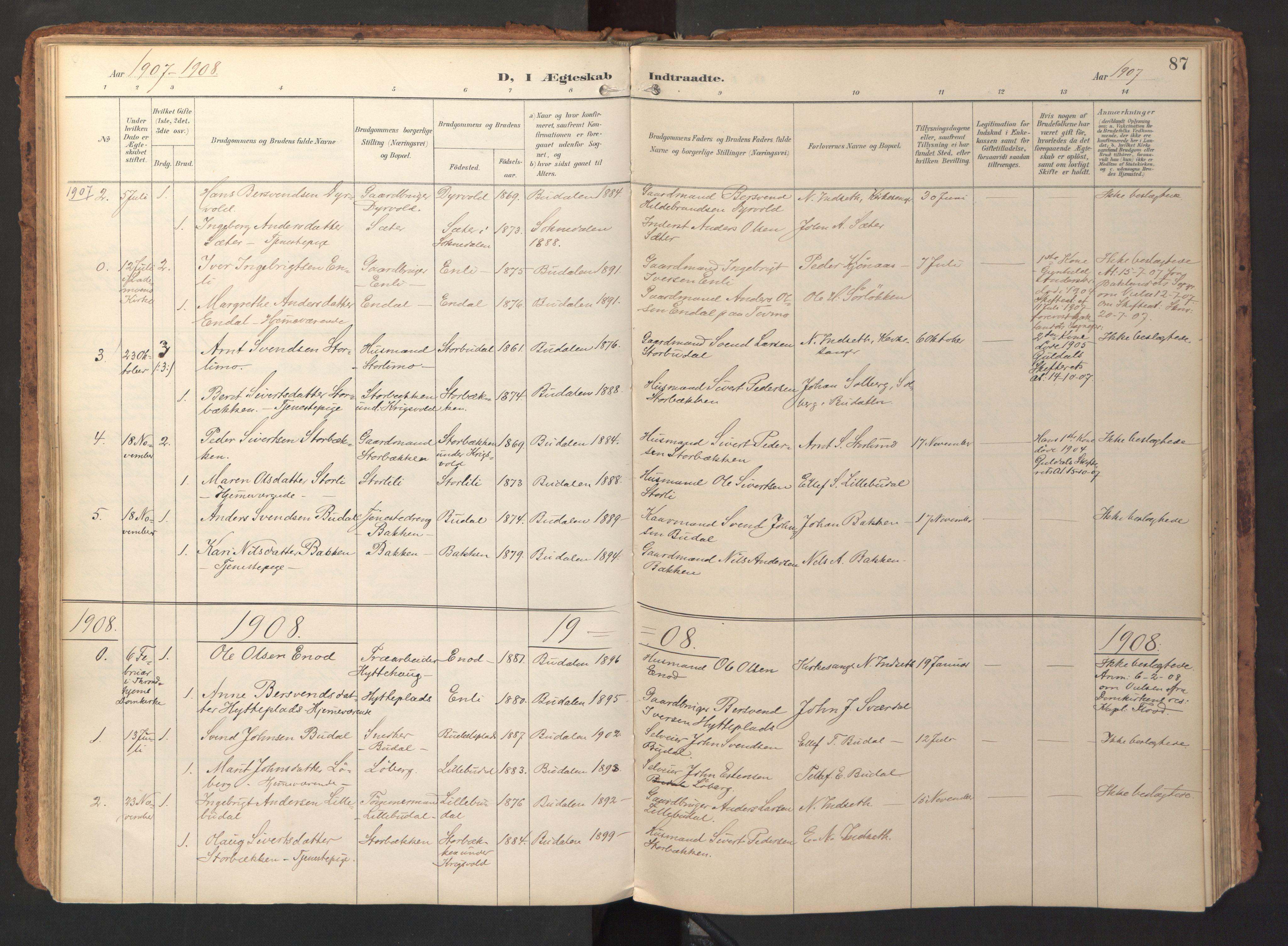 SAT, Ministerialprotokoller, klokkerbøker og fødselsregistre - Sør-Trøndelag, 690/L1050: Ministerialbok nr. 690A01, 1889-1929, s. 87