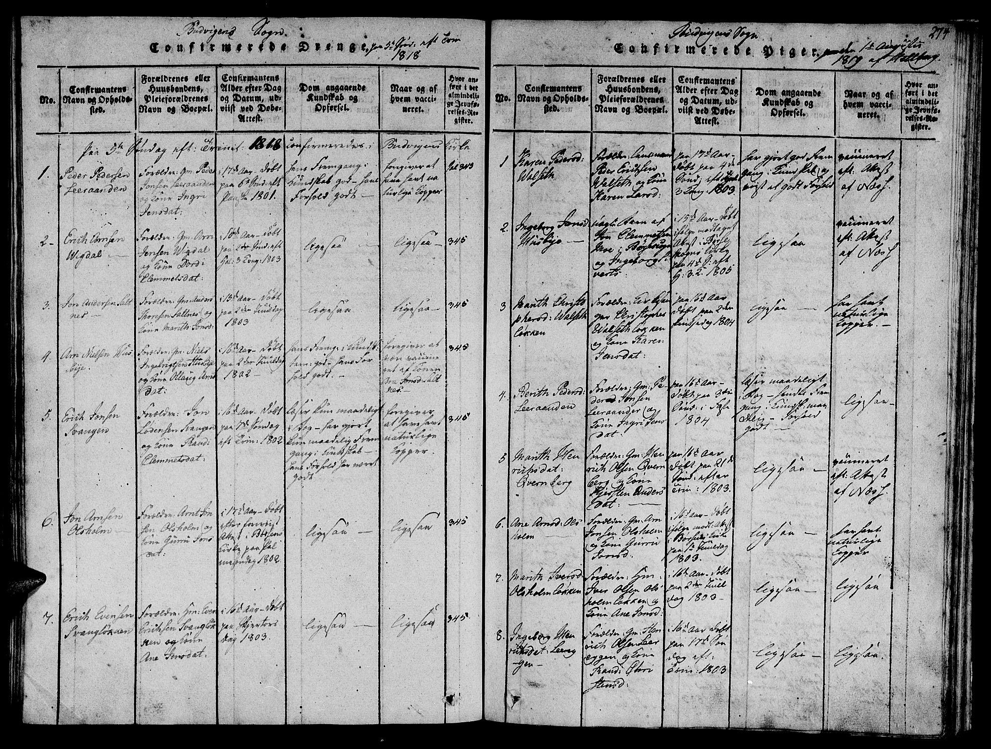 SAT, Ministerialprotokoller, klokkerbøker og fødselsregistre - Sør-Trøndelag, 612/L0373: Ministerialbok nr. 612A06 /2, 1816-1828, s. 274