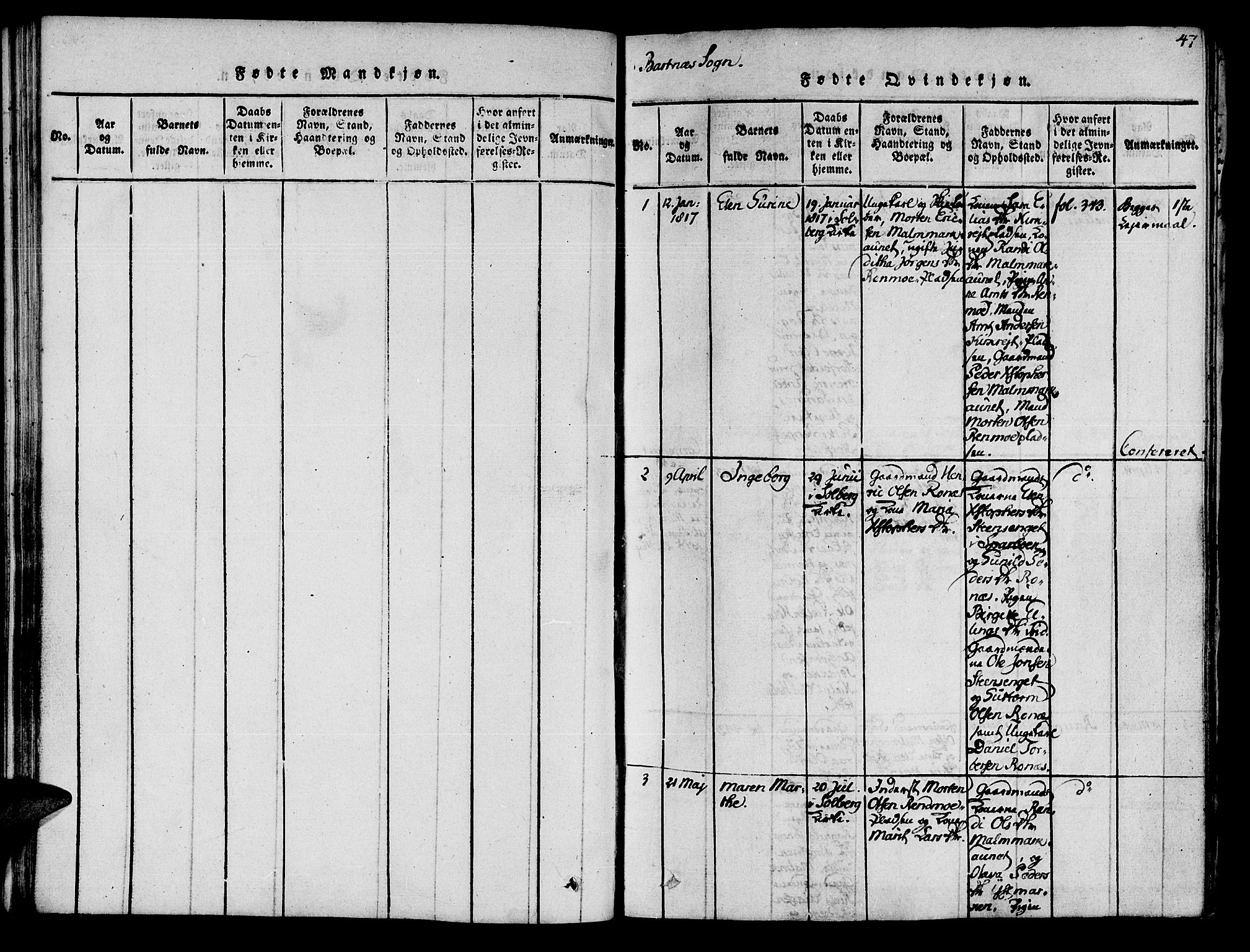 SAT, Ministerialprotokoller, klokkerbøker og fødselsregistre - Nord-Trøndelag, 741/L0387: Ministerialbok nr. 741A03 /2, 1817-1822, s. 47