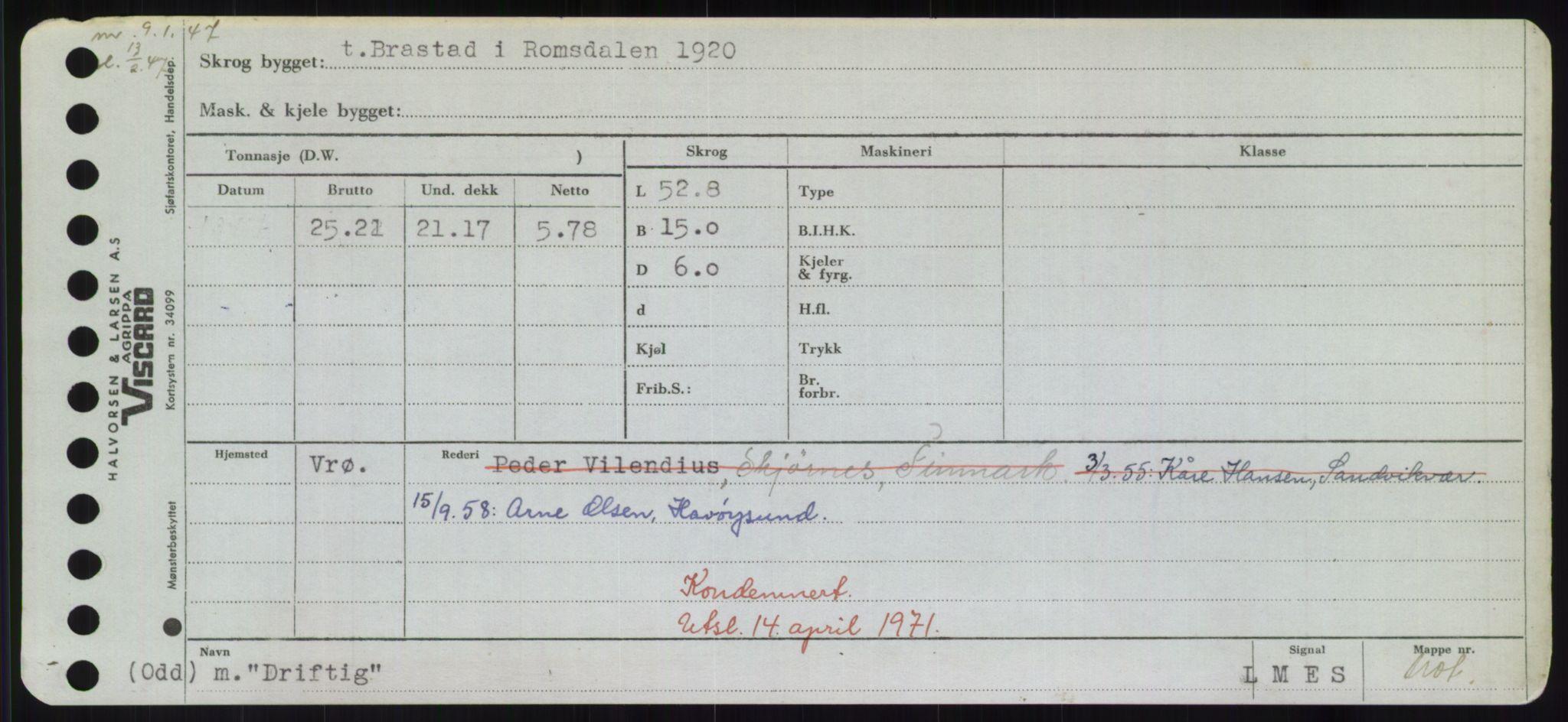 RA, Sjøfartsdirektoratet med forløpere, Skipsmålingen, H/Hd/L0008: Fartøy, C-D, s. 639