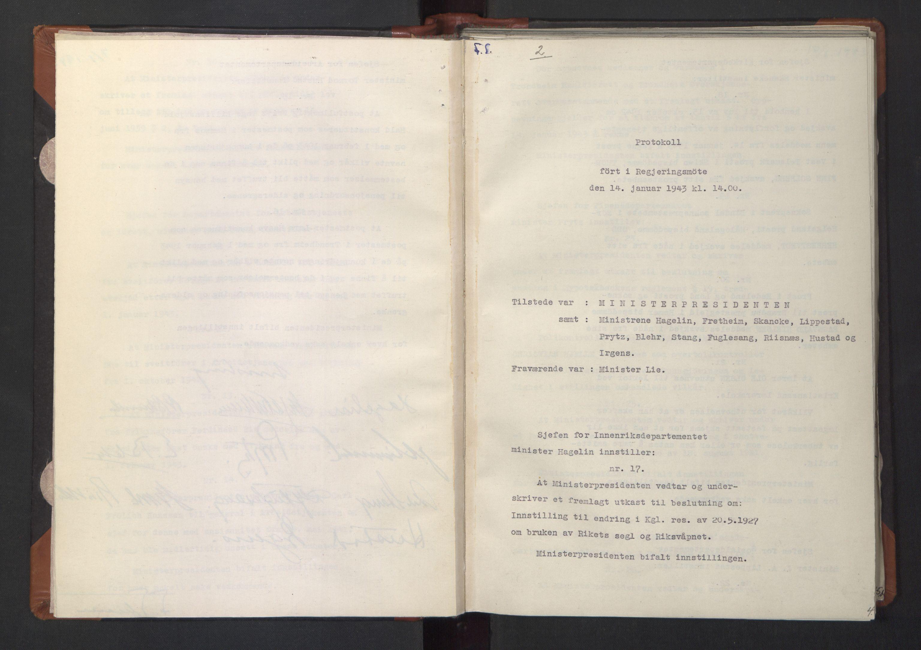 RA, NS-administrasjonen 1940-1945 (Statsrådsekretariatet, de kommisariske statsråder mm), D/Da/L0003: Vedtak (Beslutninger) nr. 1-746 og tillegg nr. 1-47 (RA. j.nr. 1394/1944, tilgangsnr. 8/1944, 1943, s. 3b-4a