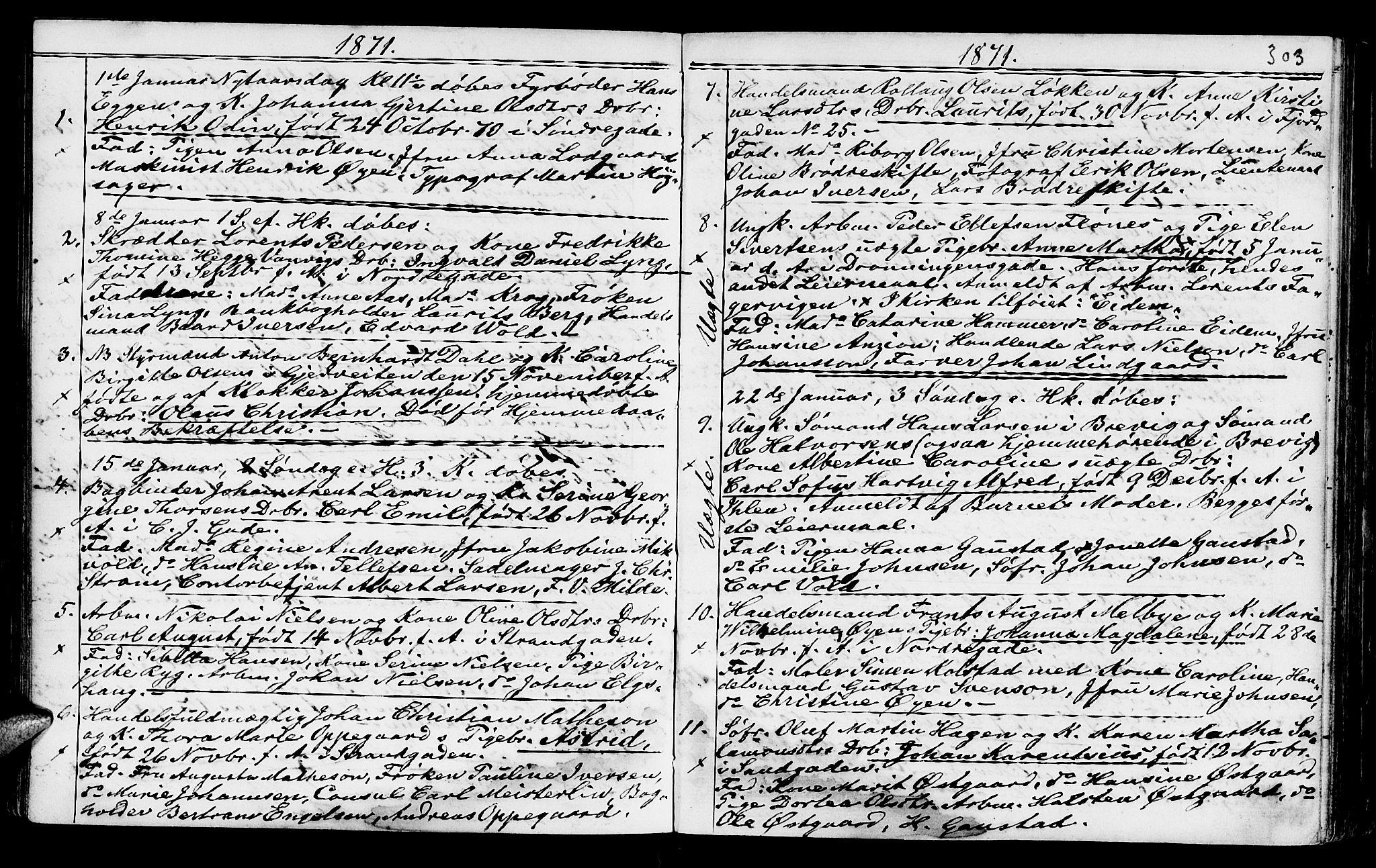 SAT, Ministerialprotokoller, klokkerbøker og fødselsregistre - Sør-Trøndelag, 602/L0140: Klokkerbok nr. 602C08, 1864-1872, s. 302-303