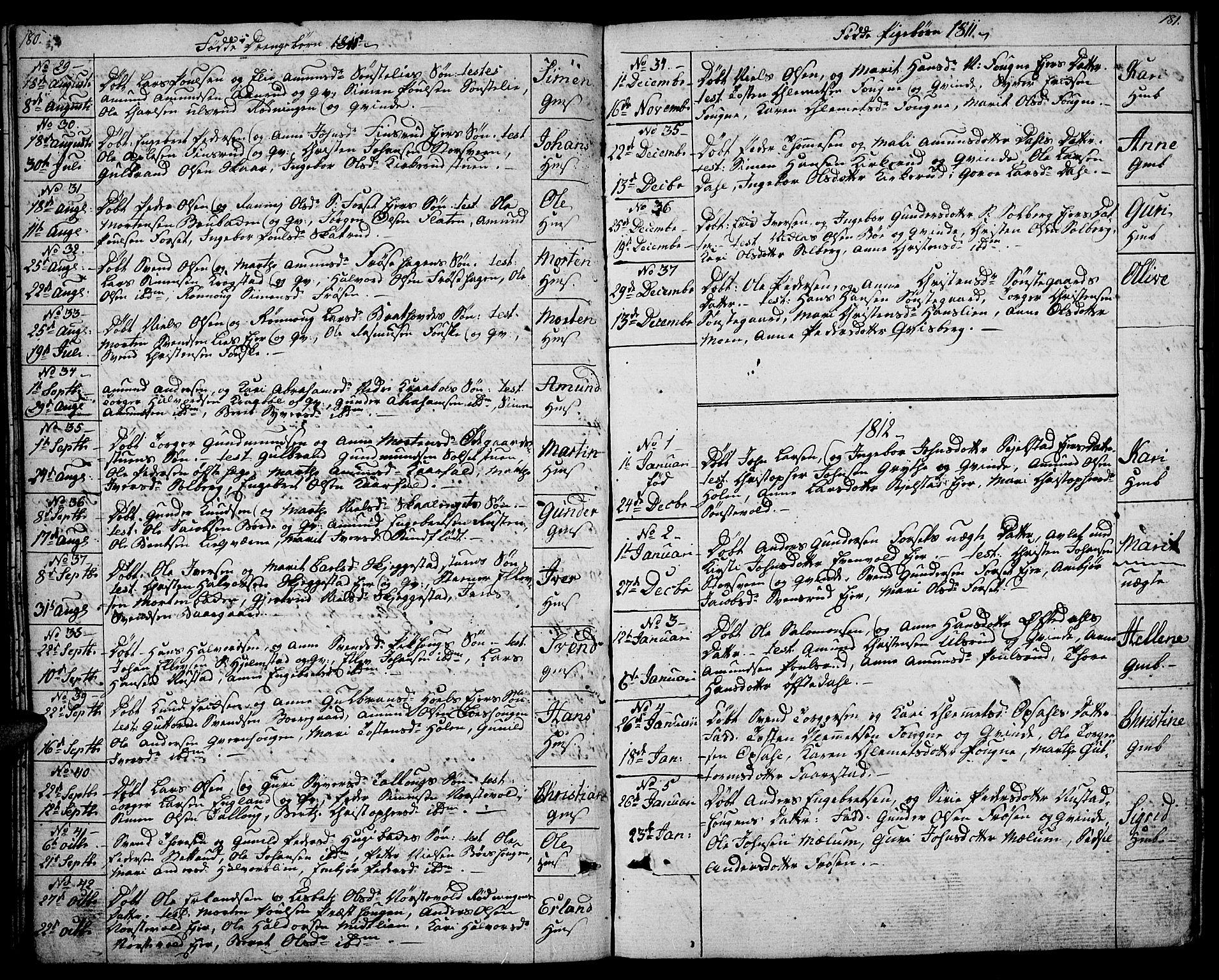 SAH, Gausdal prestekontor, Ministerialbok nr. 4, 1809-1817, s. 180-181