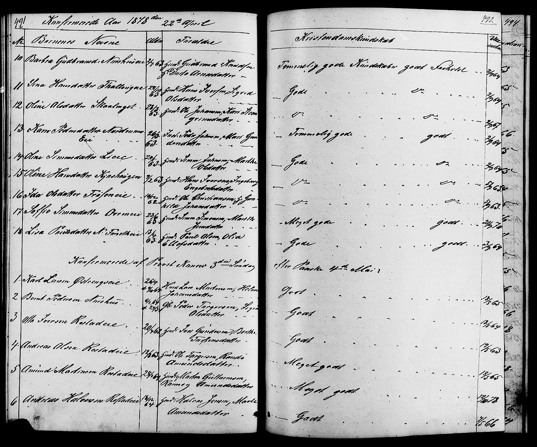 SAH, Østre Gausdal prestekontor, Klokkerbok nr. 1, 1863-1893, s. 491-492