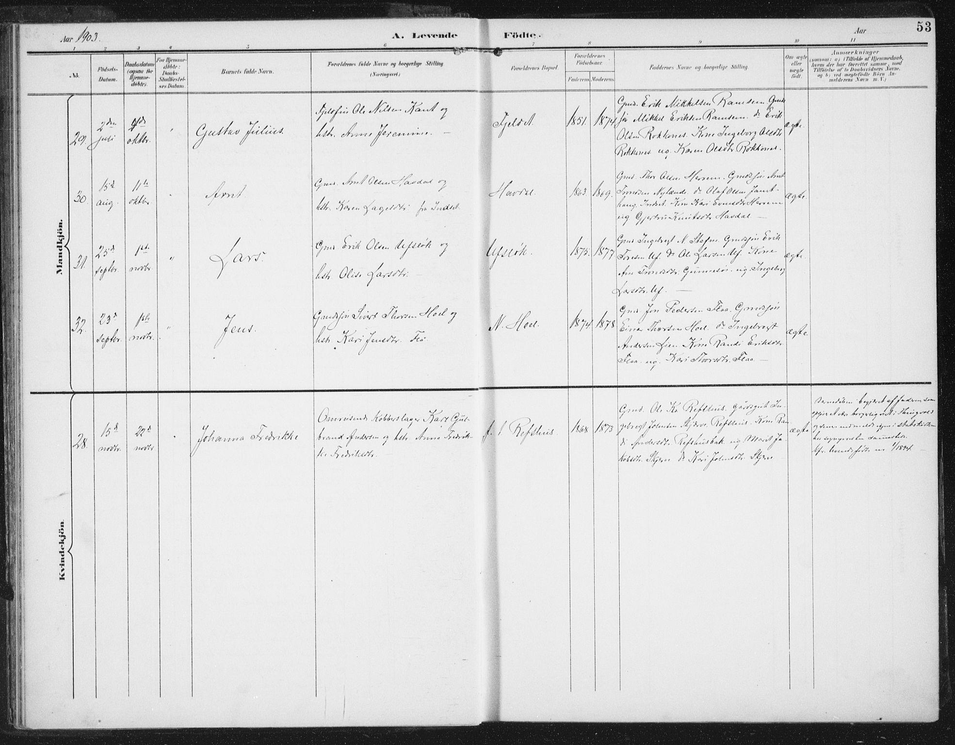 SAT, Ministerialprotokoller, klokkerbøker og fødselsregistre - Sør-Trøndelag, 674/L0872: Ministerialbok nr. 674A04, 1897-1907, s. 53