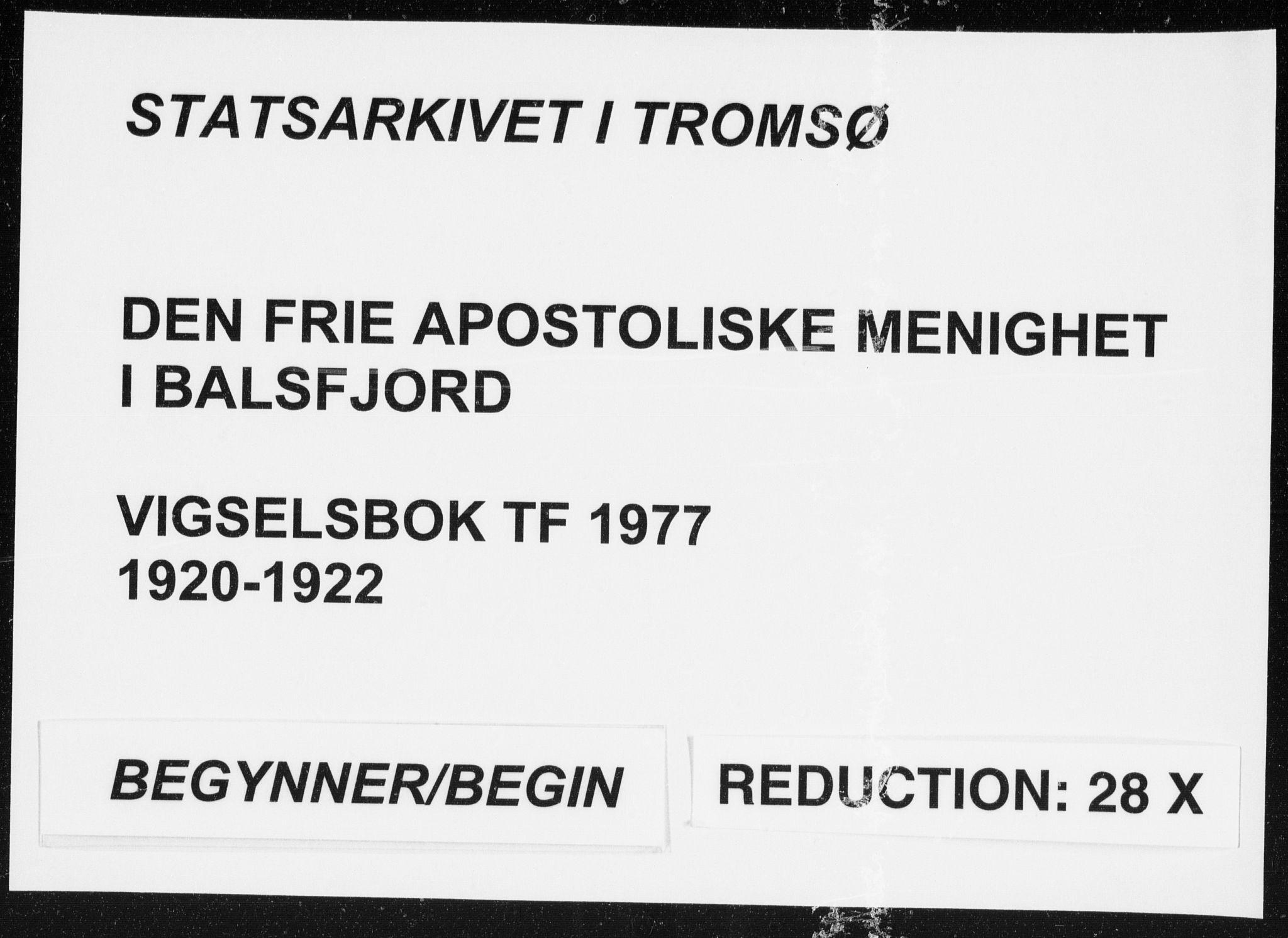SATØ, Fylkesmannen i Troms, A7.10.1/L1977: Dissenterprotokoll nr. TF 1977, 1920-1922