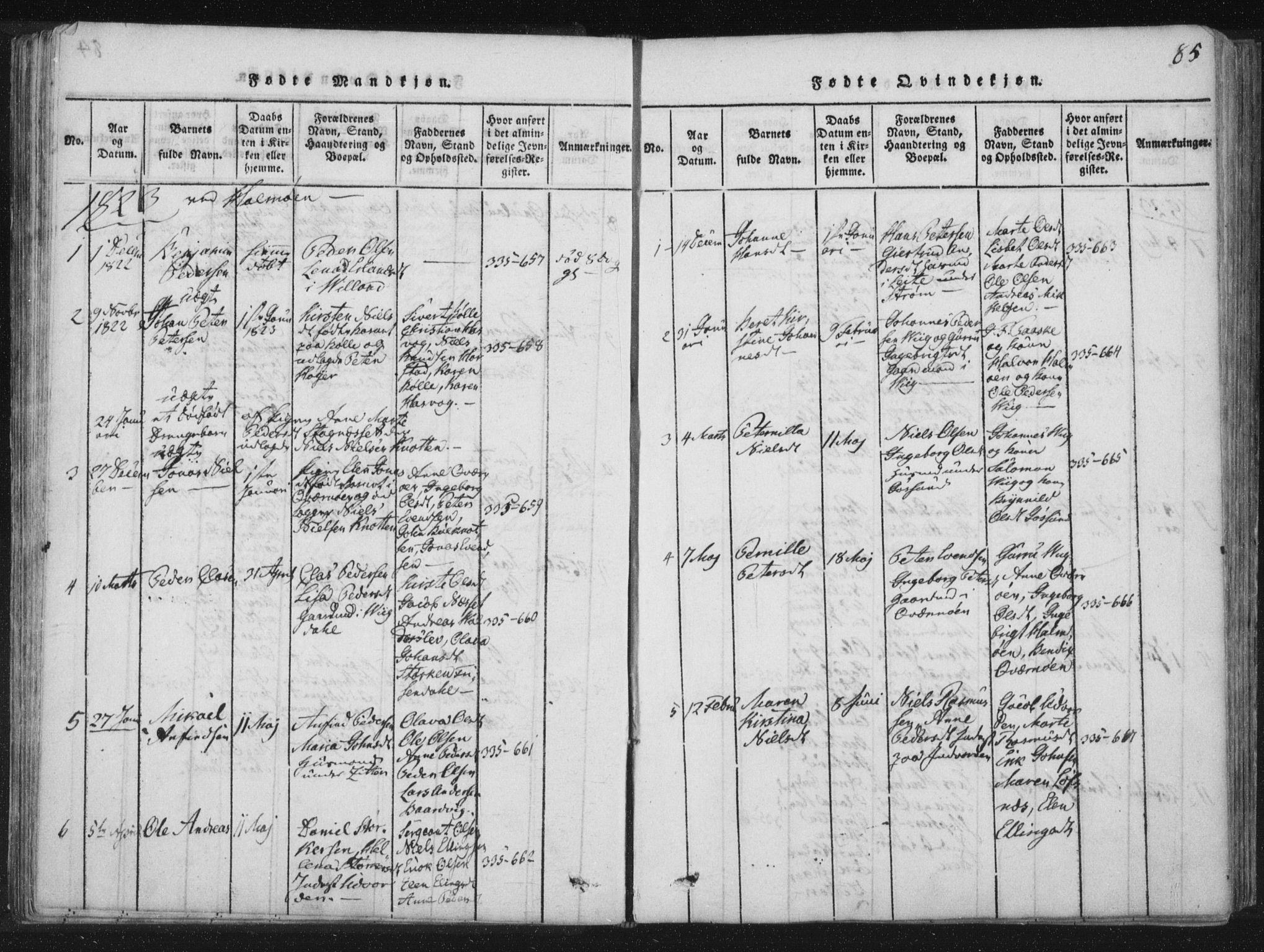SAT, Ministerialprotokoller, klokkerbøker og fødselsregistre - Nord-Trøndelag, 773/L0609: Ministerialbok nr. 773A03 /3, 1815-1830, s. 85