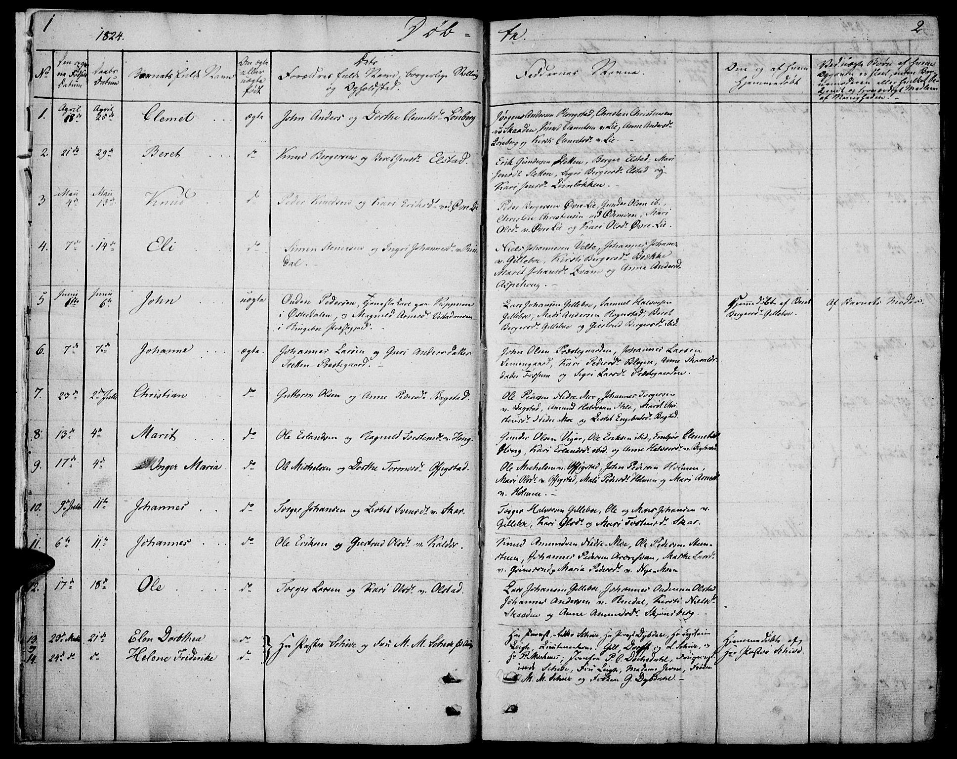 SAH, Øyer prestekontor, Ministerialbok nr. 4, 1824-1841, s. 1-2