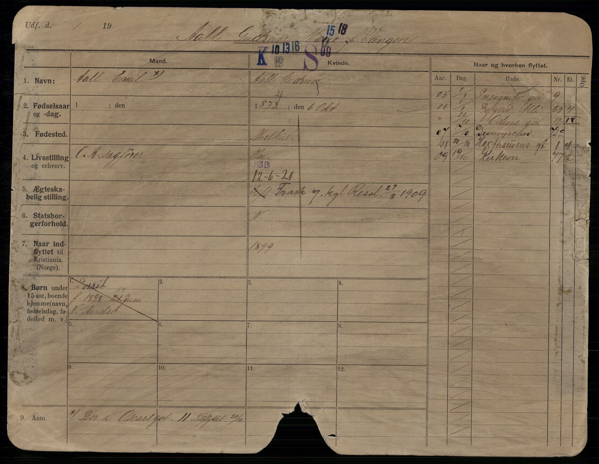 SAO, Oslo folkeregister, Registerkort, G/Gb/L0034: Kvinner, 1921