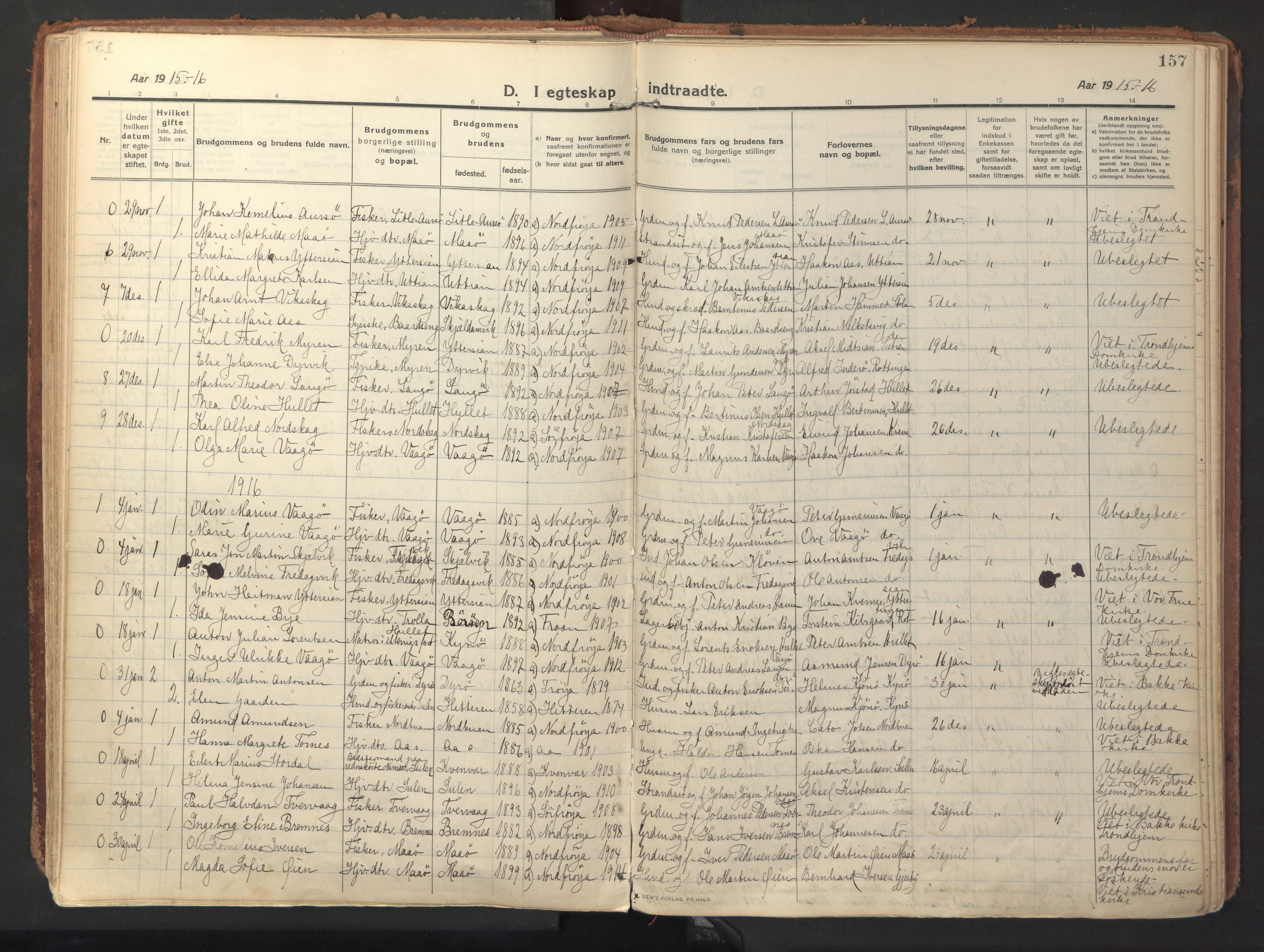 SAT, Ministerialprotokoller, klokkerbøker og fødselsregistre - Sør-Trøndelag, 640/L0581: Ministerialbok nr. 640A06, 1910-1924, s. 157