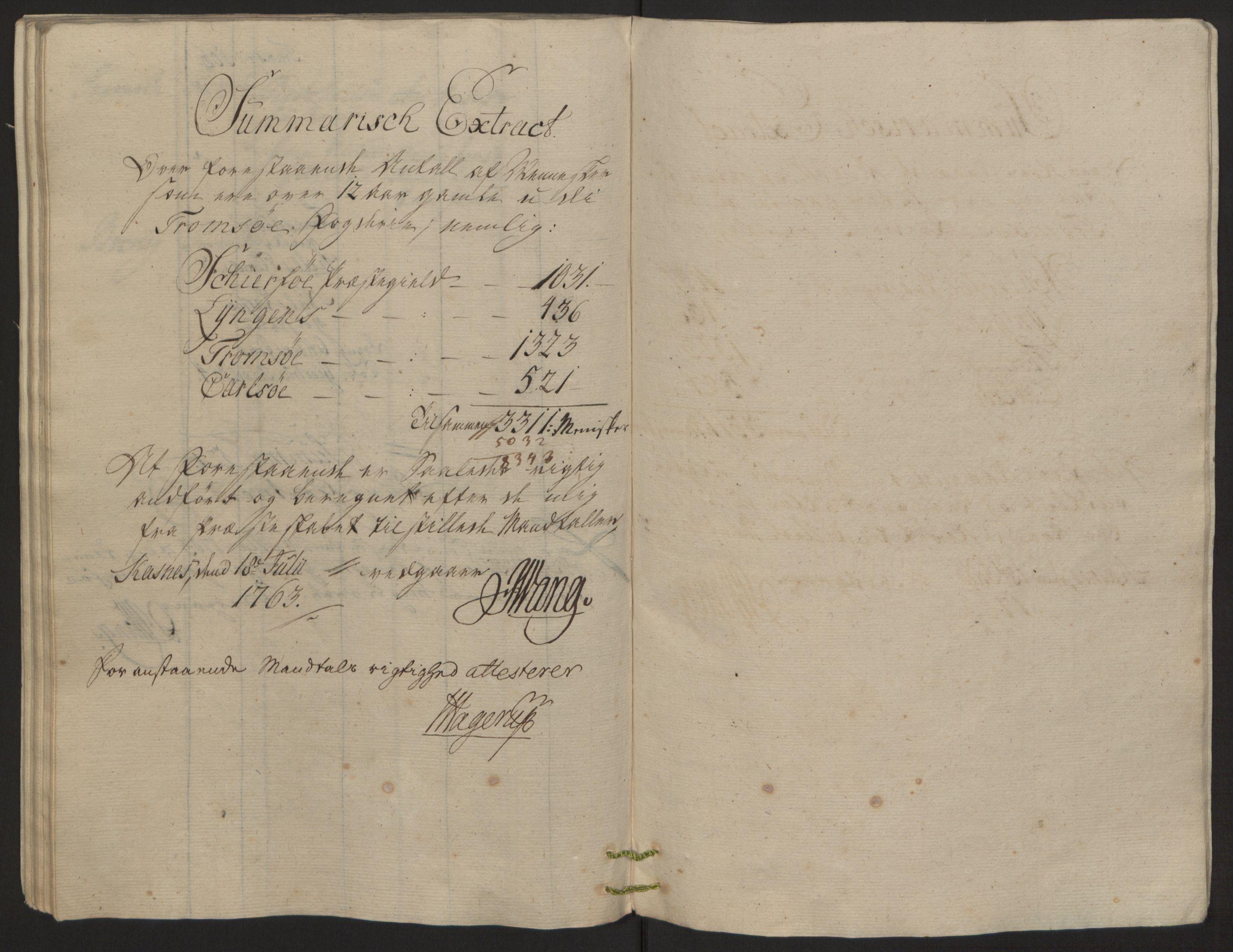 RA, Rentekammeret inntil 1814, Reviderte regnskaper, Fogderegnskap, R68/L4845: Ekstraskatten Senja og Troms, 1762-1765, s. 181