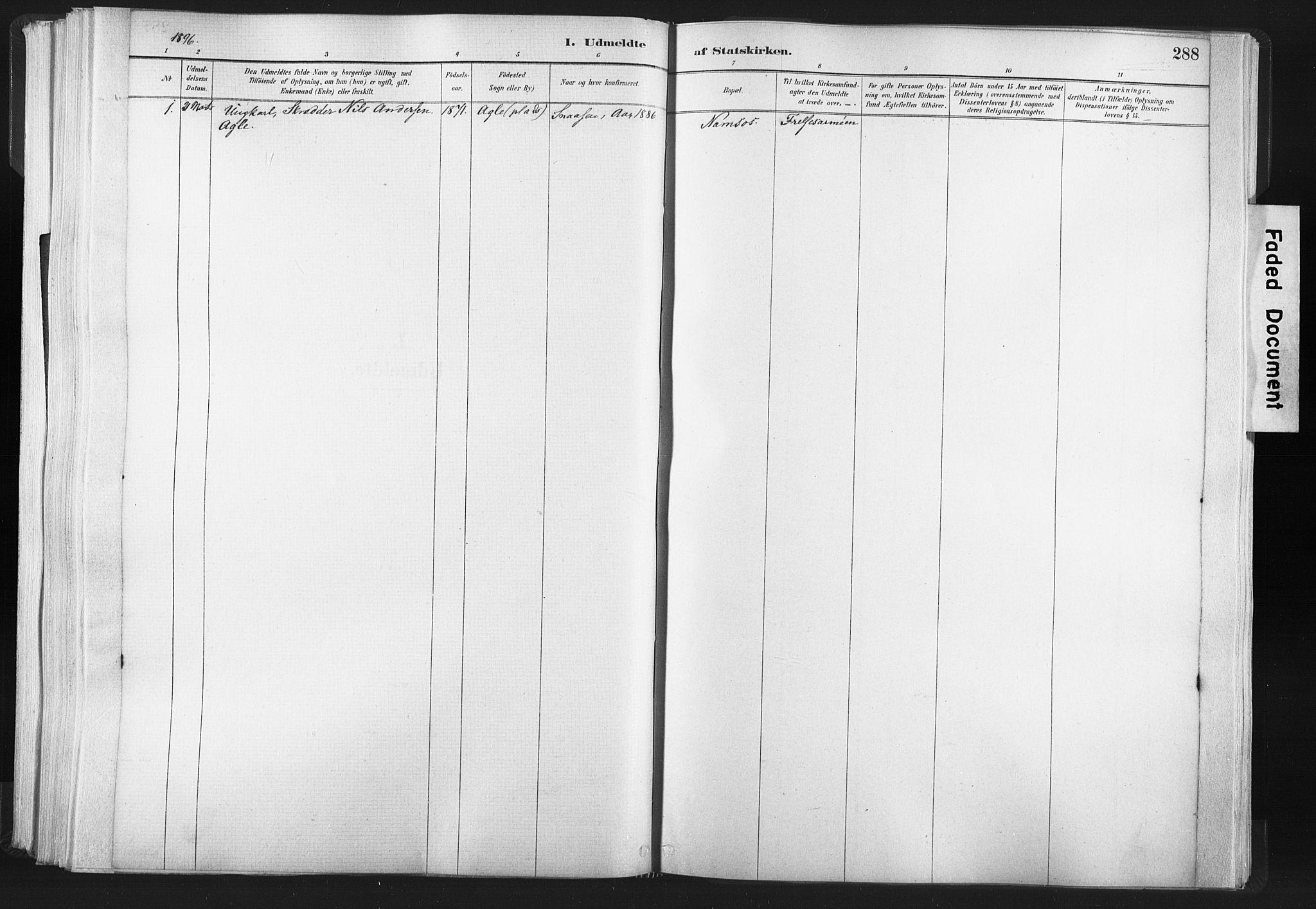 SAT, Ministerialprotokoller, klokkerbøker og fødselsregistre - Nord-Trøndelag, 749/L0474: Ministerialbok nr. 749A08, 1887-1903, s. 288