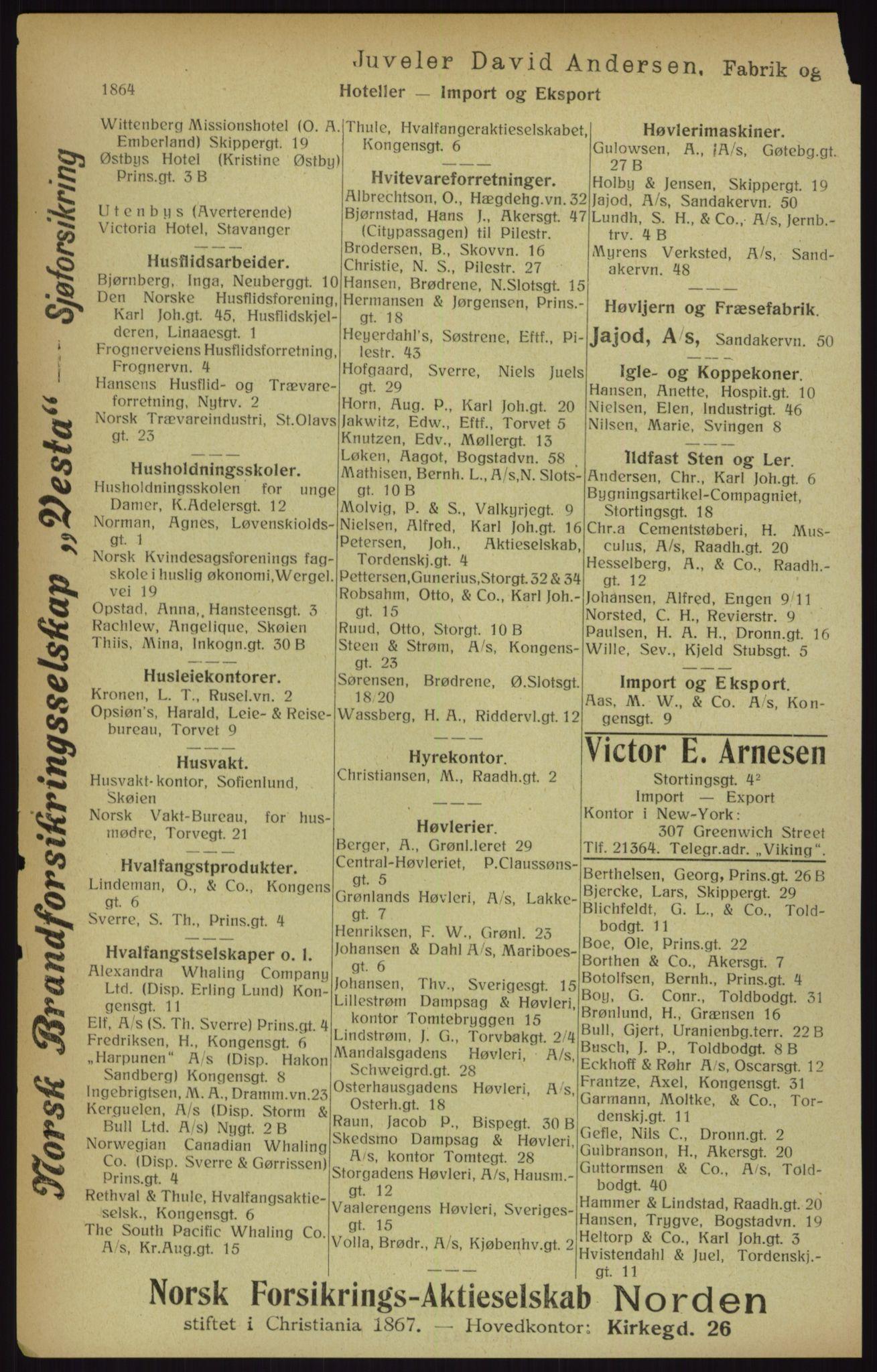 RA, Kristiania adressebok (publikasjon)*, 1916, s. 1864