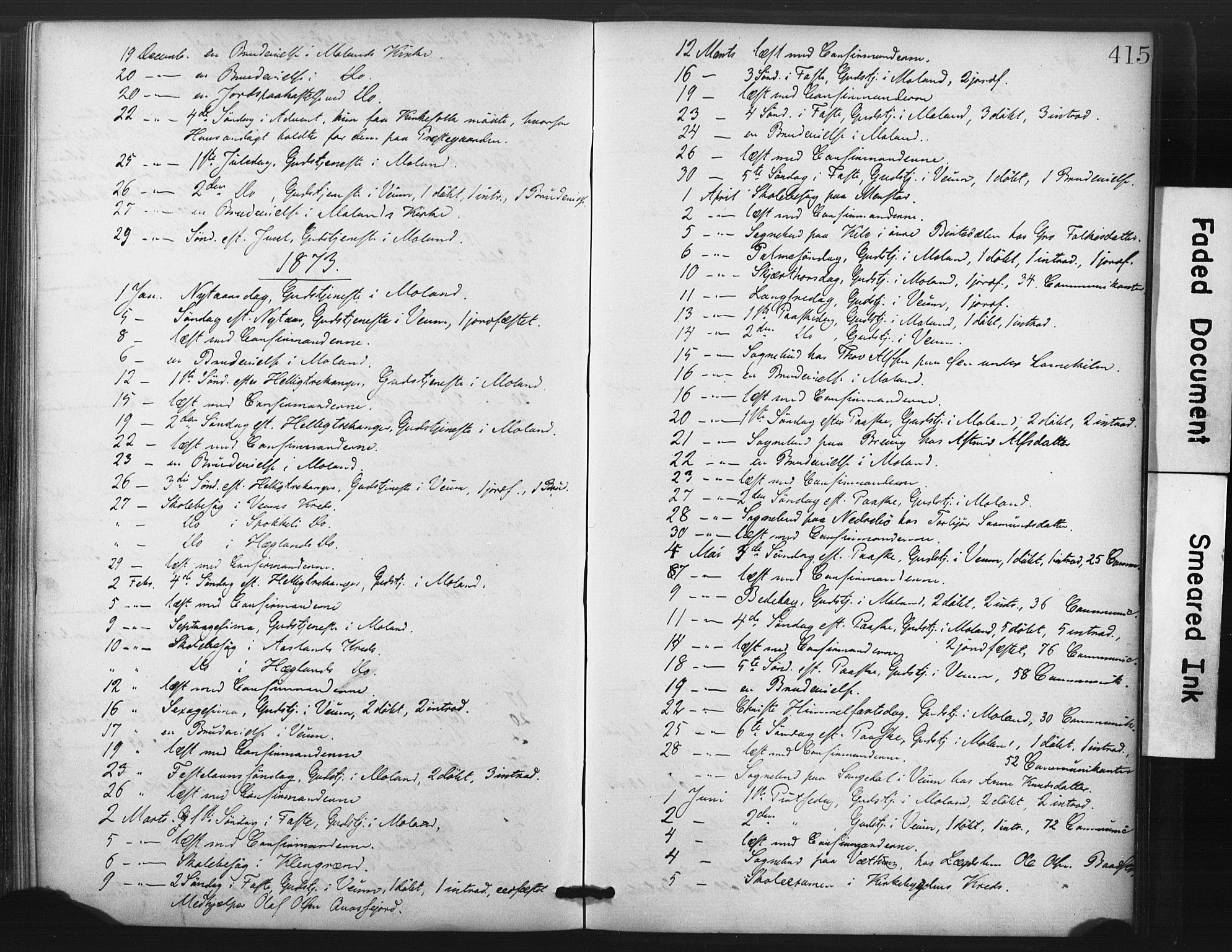 SAKO, Fyresdal kirkebøker, F/Fa/L0006: Ministerialbok nr. I 6, 1872-1886, s. 415