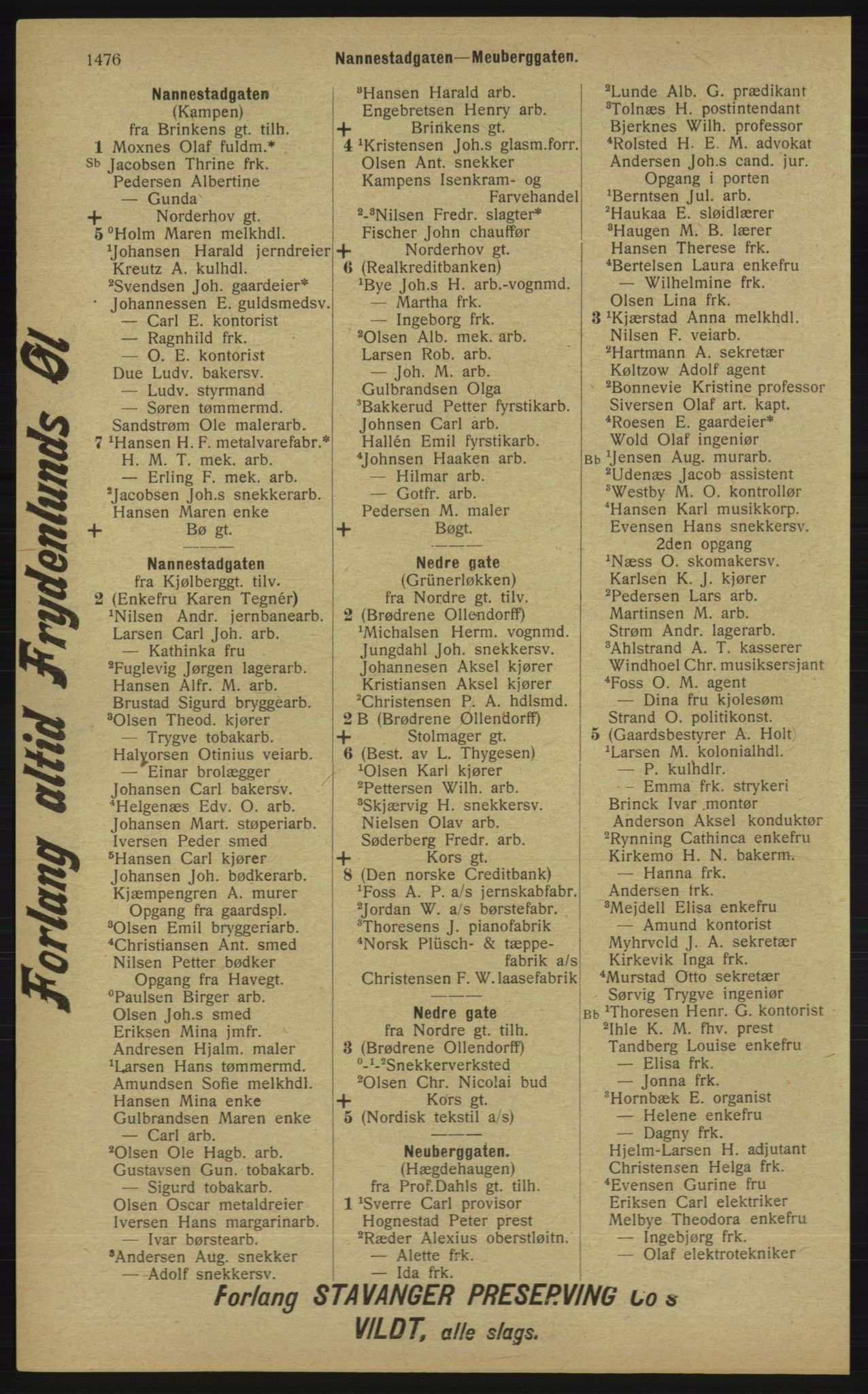 RA, Kristiania adressebok (publikasjon)*, 1913, s. 1476