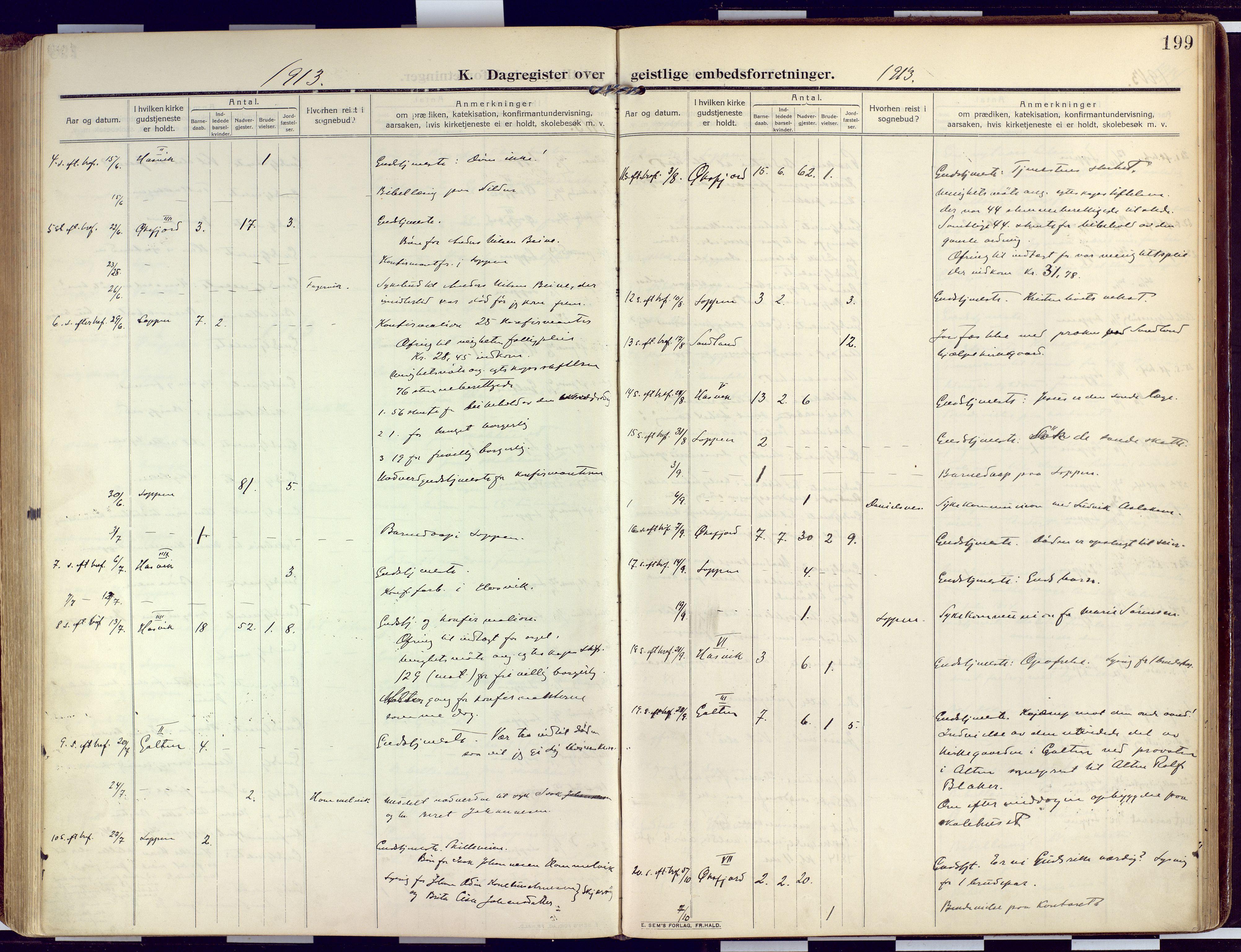 SATØ, Loppa sokneprestkontor, H/Ha/L0011kirke: Ministerialbok nr. 11, 1909-1919, s. 199