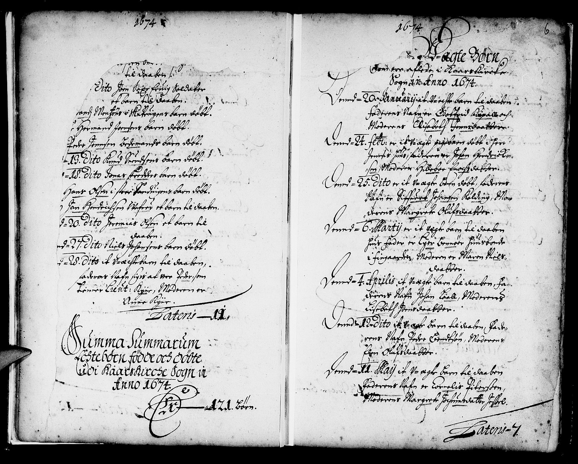 SAB, Korskirken Sokneprestembete, H/Haa/L0001: Ministerialbok nr. A 1, 1674-1688, s. 6