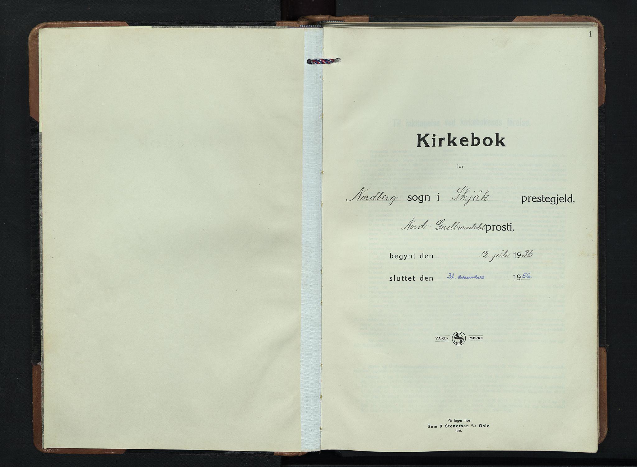 SAH, Skjåk prestekontor, Klokkerbok nr. 7, 1936-1958, s. 1