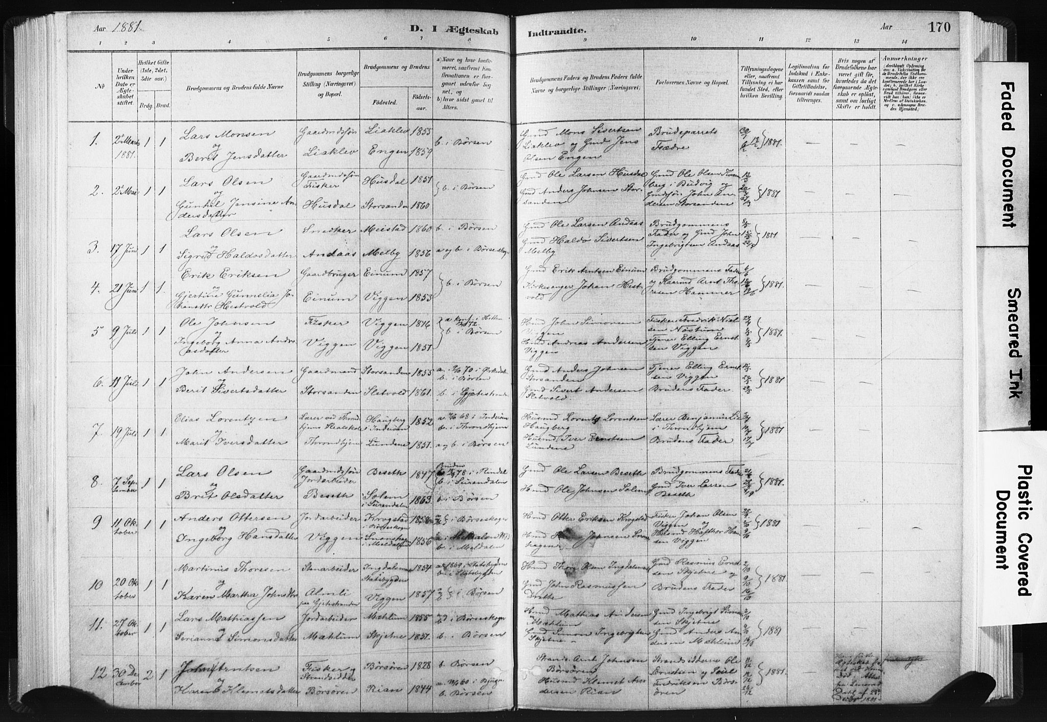 SAT, Ministerialprotokoller, klokkerbøker og fødselsregistre - Sør-Trøndelag, 665/L0773: Ministerialbok nr. 665A08, 1879-1905, s. 170