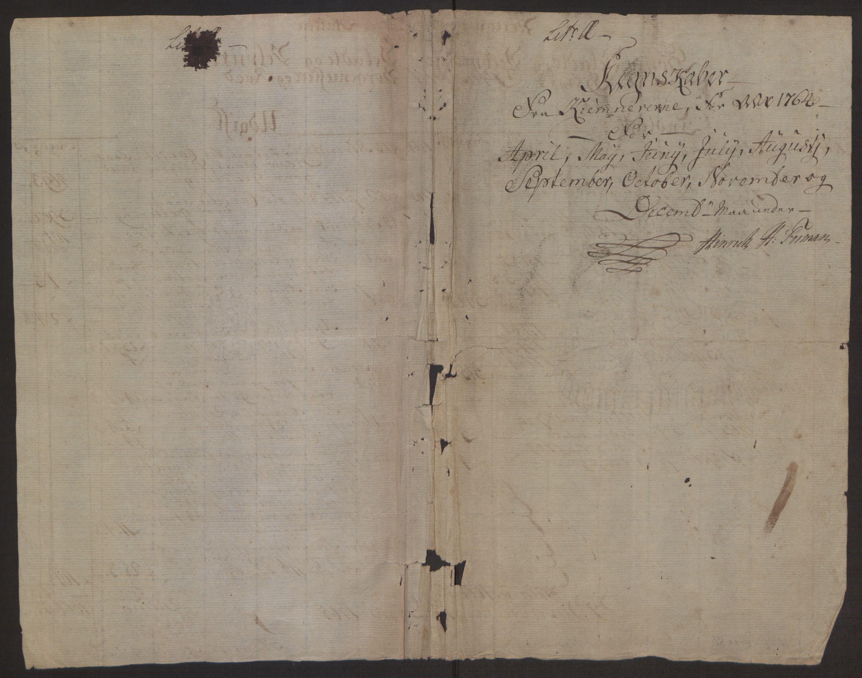 RA, Rentekammeret inntil 1814, Reviderte regnskaper, Byregnskaper, R/Rp/L0367: [P21] Kontribusjonsregnskap, 1764, s. 102