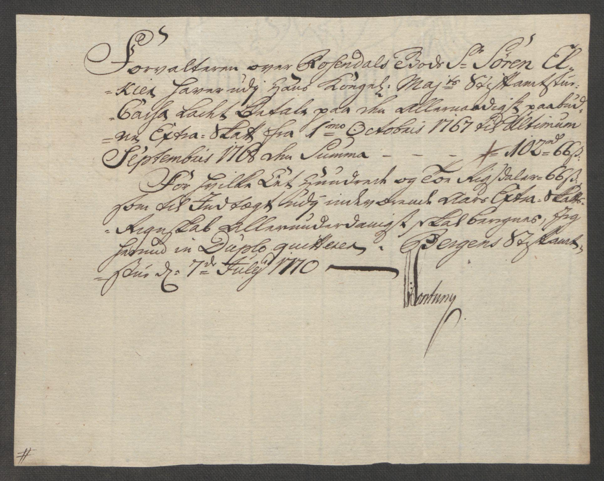 RA, Rentekammeret inntil 1814, Reviderte regnskaper, Fogderegnskap, R49/L3157: Ekstraskatten Rosendal Baroni, 1762-1772, s. 266
