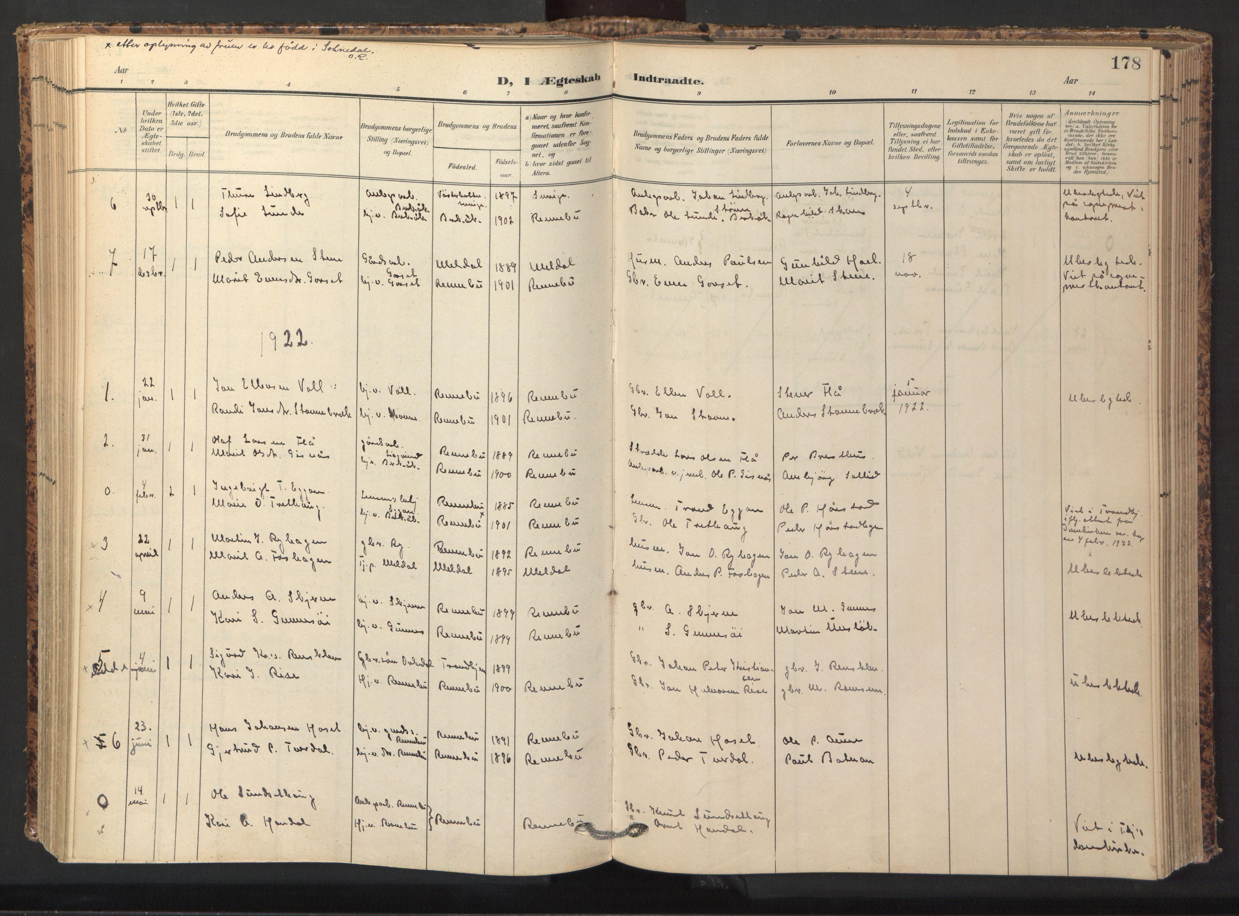 SAT, Ministerialprotokoller, klokkerbøker og fødselsregistre - Sør-Trøndelag, 674/L0873: Ministerialbok nr. 674A05, 1908-1923, s. 178