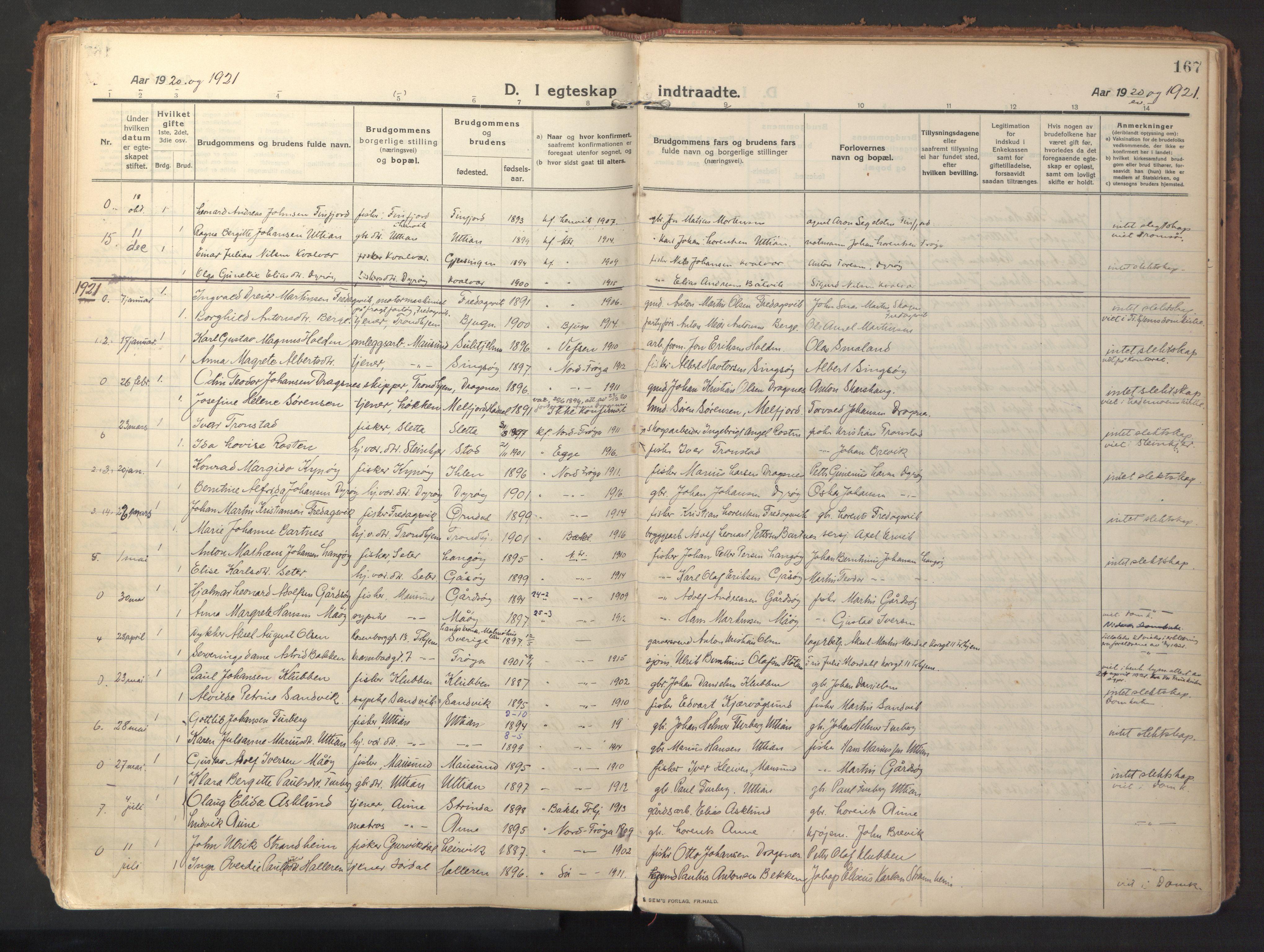 SAT, Ministerialprotokoller, klokkerbøker og fødselsregistre - Sør-Trøndelag, 640/L0581: Ministerialbok nr. 640A06, 1910-1924, s. 167