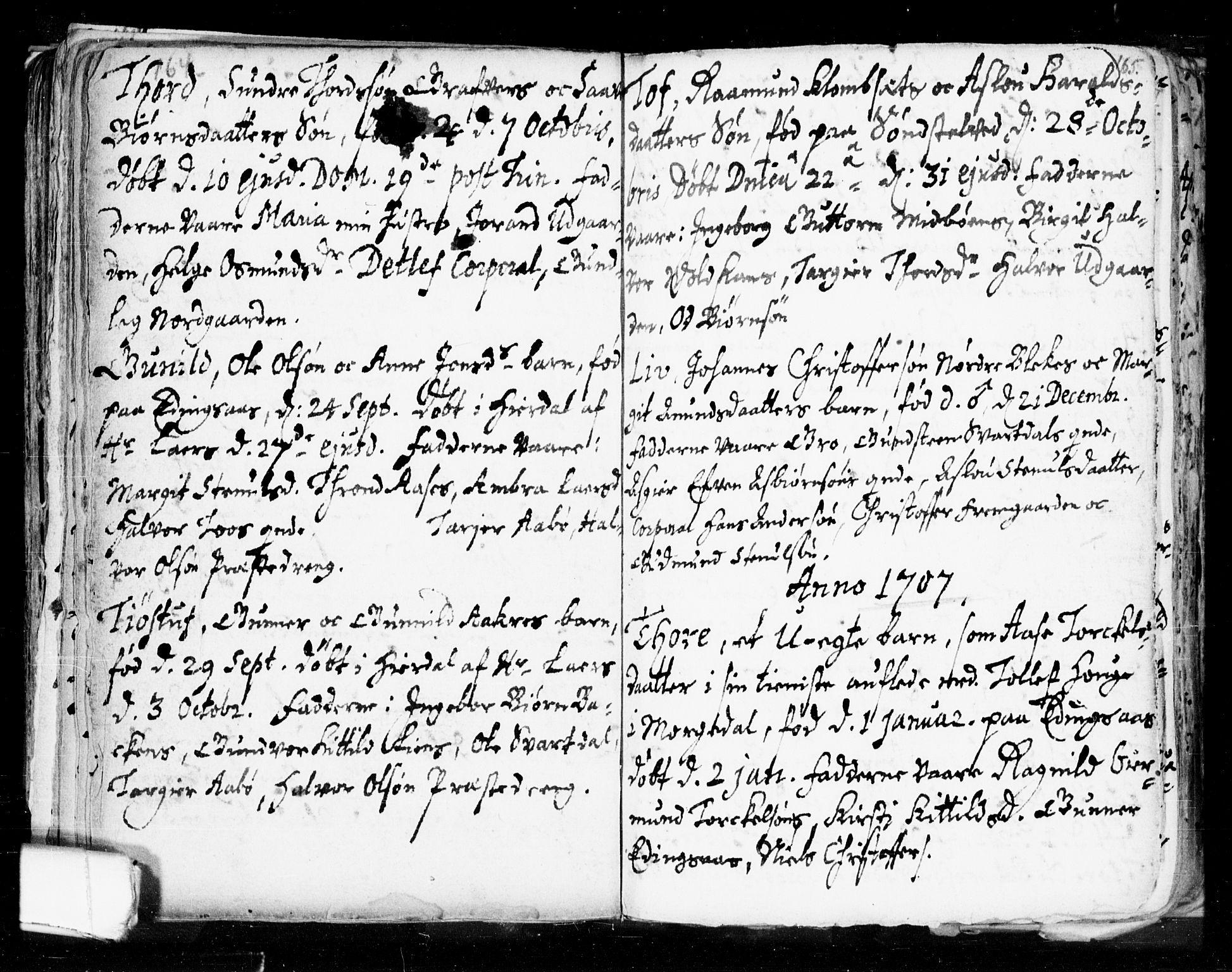 SAKO, Seljord kirkebøker, F/Fa/L0002: Ministerialbok nr. I 2, 1689-1713, s. 164-165