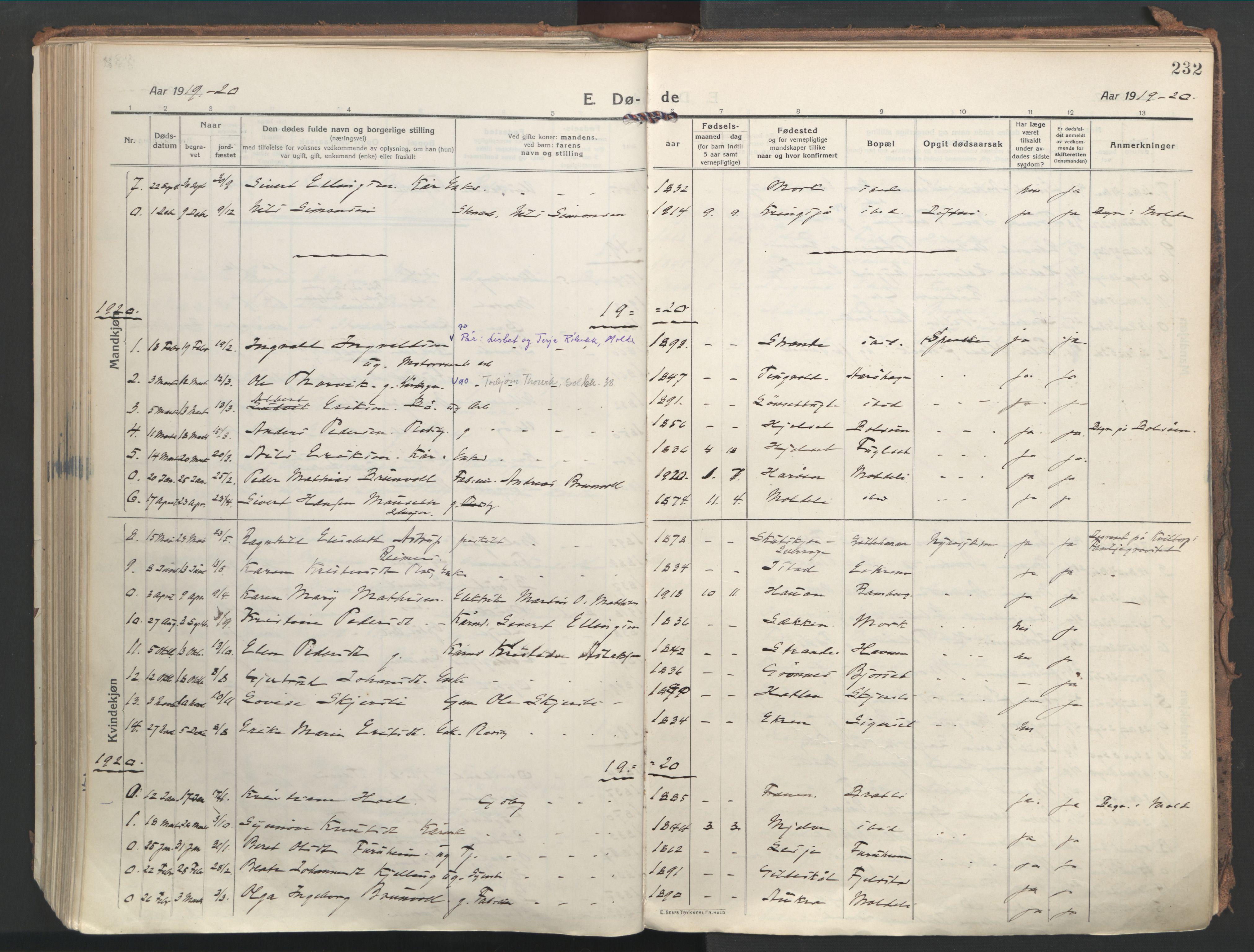 SAT, Ministerialprotokoller, klokkerbøker og fødselsregistre - Møre og Romsdal, 555/L0659: Ministerialbok nr. 555A10, 1913-1971, s. 232