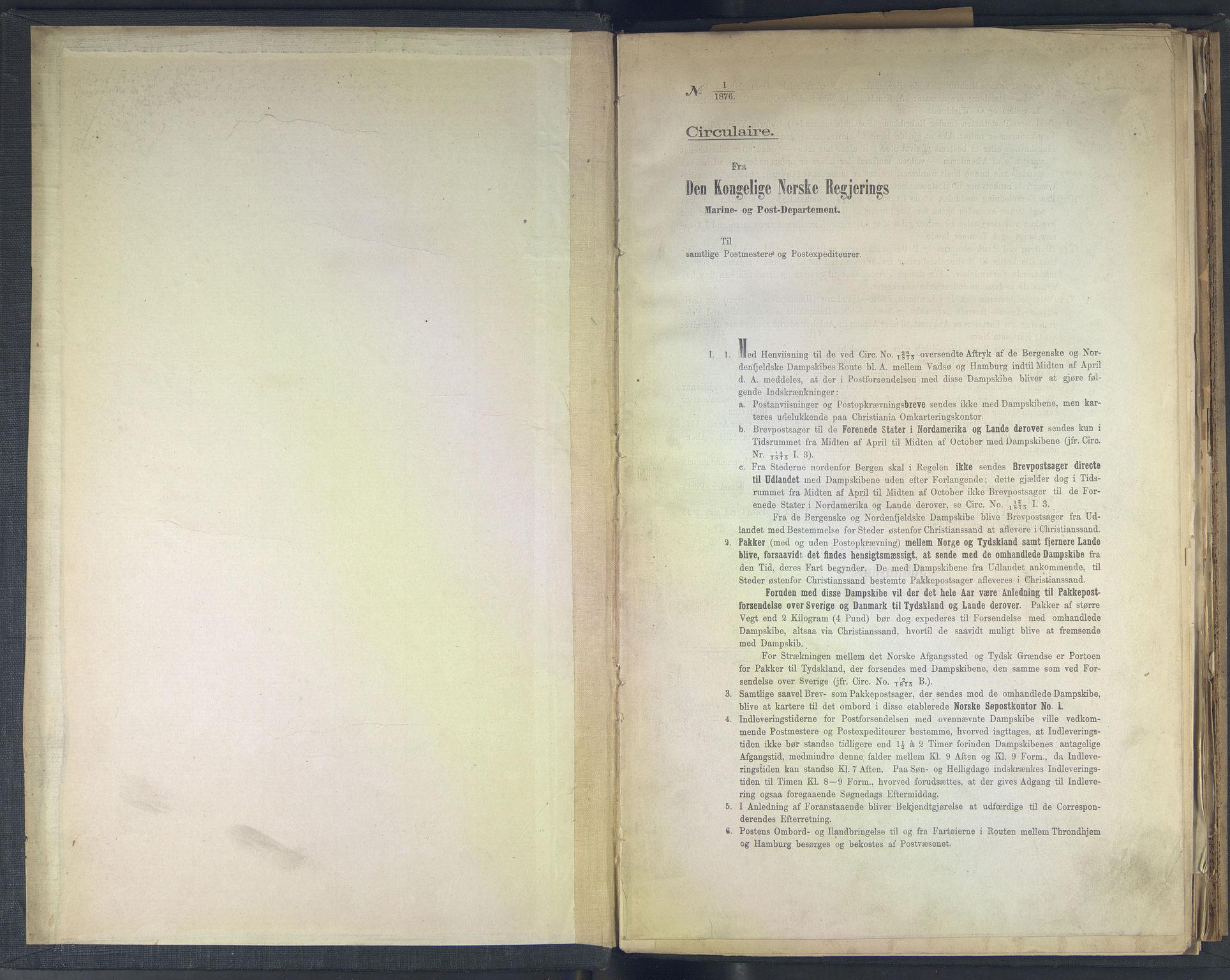 NOPO, Norges Postmuseums bibliotek, -/-: Sirkulærer fra Den Kongelige Norske Regjerings Marine- og Postdepartement, 1876