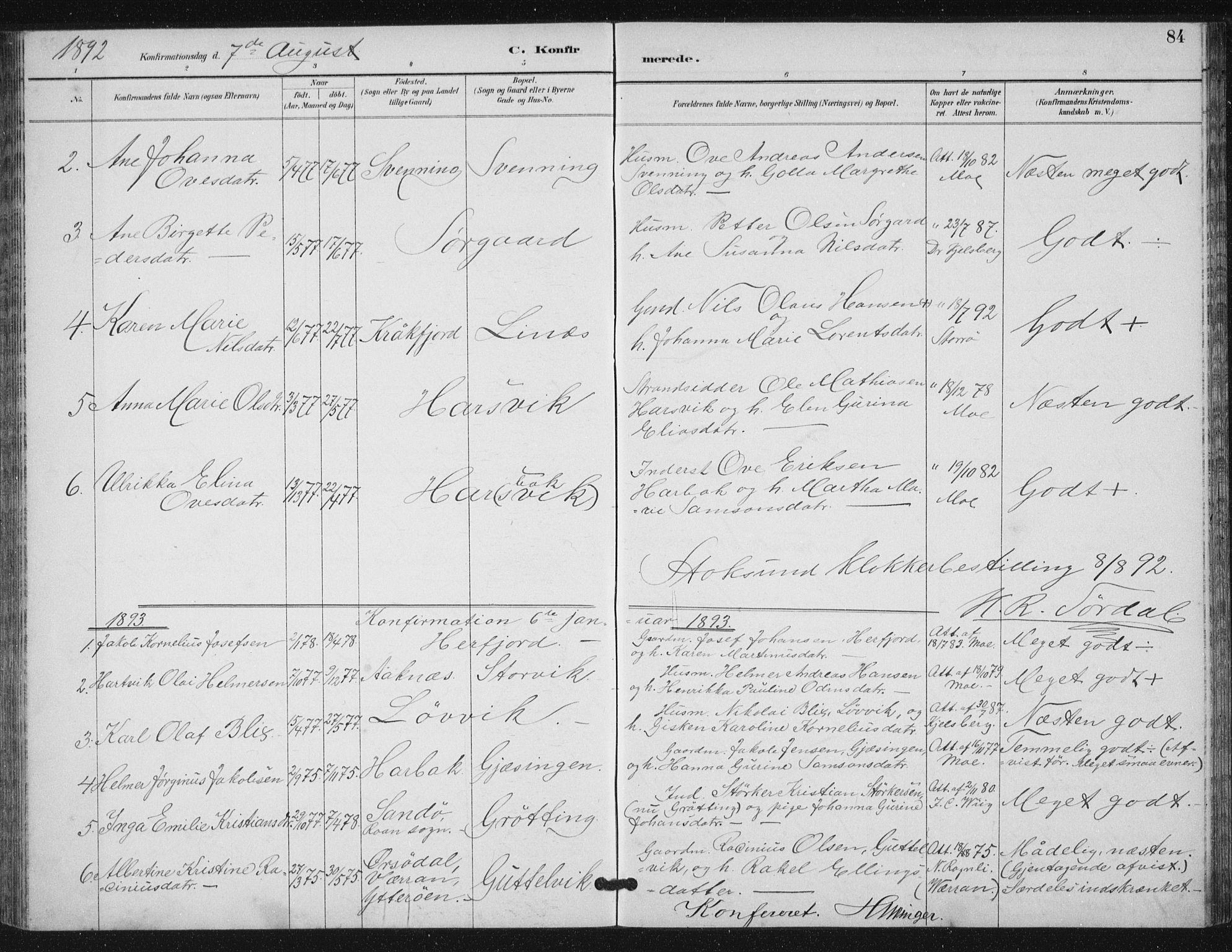 SAT, Ministerialprotokoller, klokkerbøker og fødselsregistre - Sør-Trøndelag, 656/L0698: Klokkerbok nr. 656C04, 1890-1904, s. 84