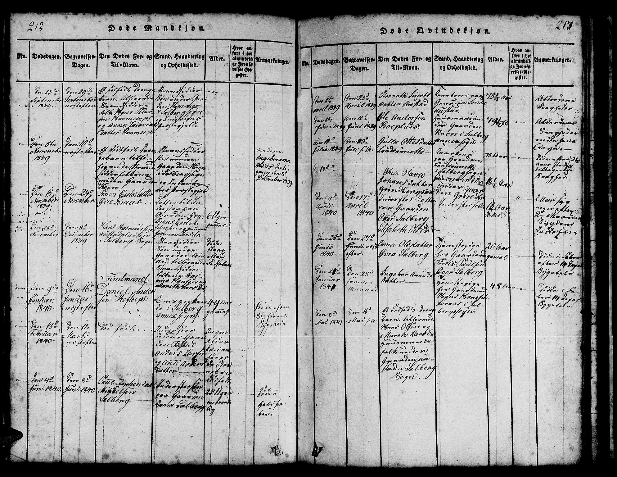 SAT, Ministerialprotokoller, klokkerbøker og fødselsregistre - Nord-Trøndelag, 731/L0310: Klokkerbok nr. 731C01, 1816-1874, s. 212-213