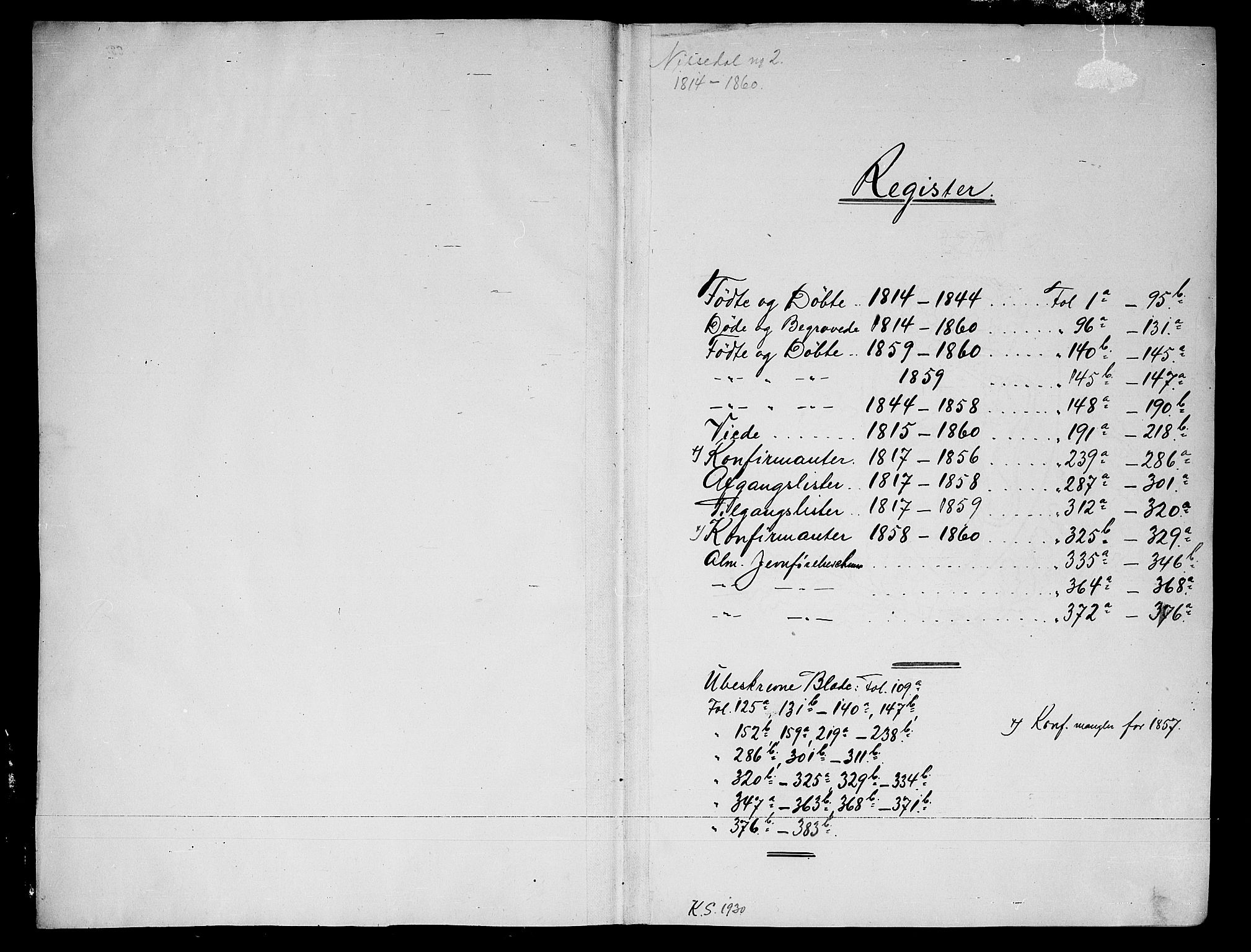 SAKO, Nissedal kirkebøker, G/Ga/L0001: Klokkerbok nr. I 1, 1814-1860