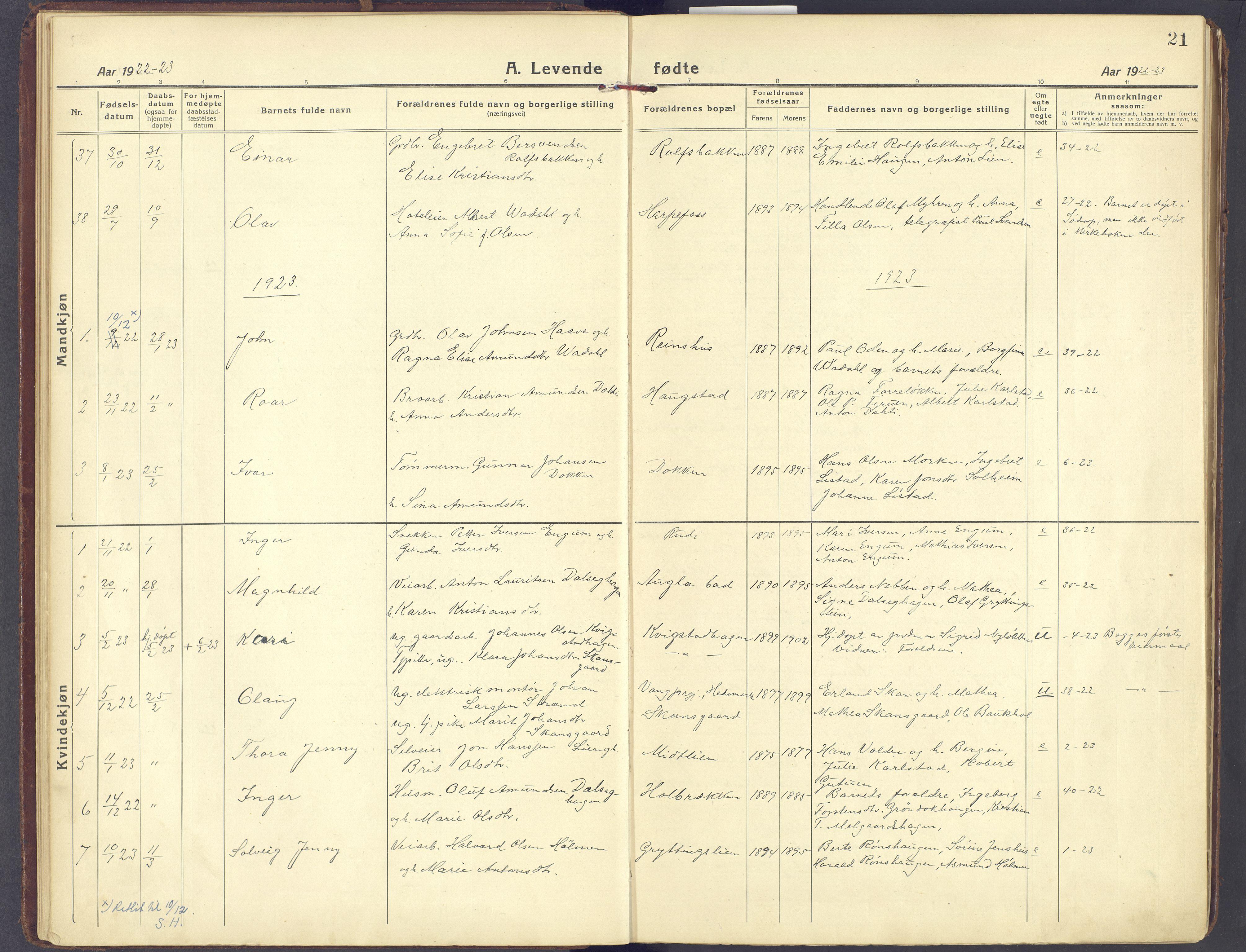 SAH, Sør-Fron prestekontor, H/Ha/Haa/L0005: Ministerialbok nr. 5, 1920-1933, s. 21