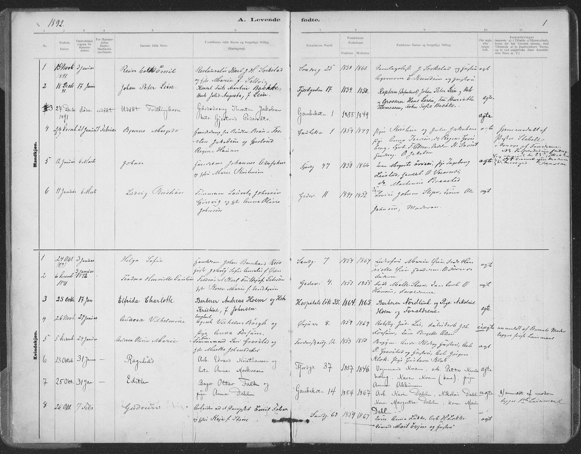 SAT, Ministerialprotokoller, klokkerbøker og fødselsregistre - Sør-Trøndelag, 602/L0122: Ministerialbok nr. 602A20, 1892-1908, s. 1