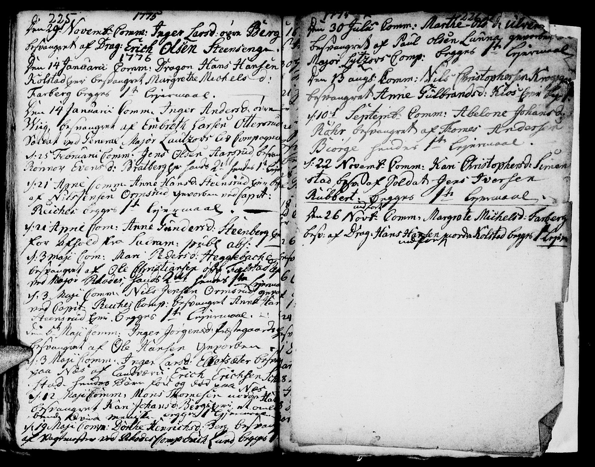 SAH, Ringsaker prestekontor, I/Ia/L0005/0002: Kladd til kirkebok nr. 1B, 1775-1779, s. 225-226