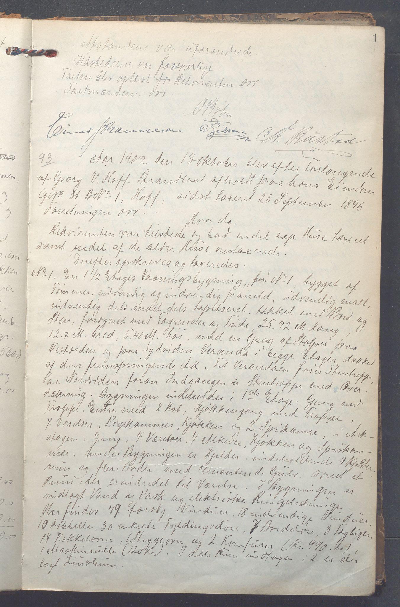 OBA, Lensmennene i Aker, F/Fa/L0011: Branntakstprotokoll, 1902-1905, s. 1a