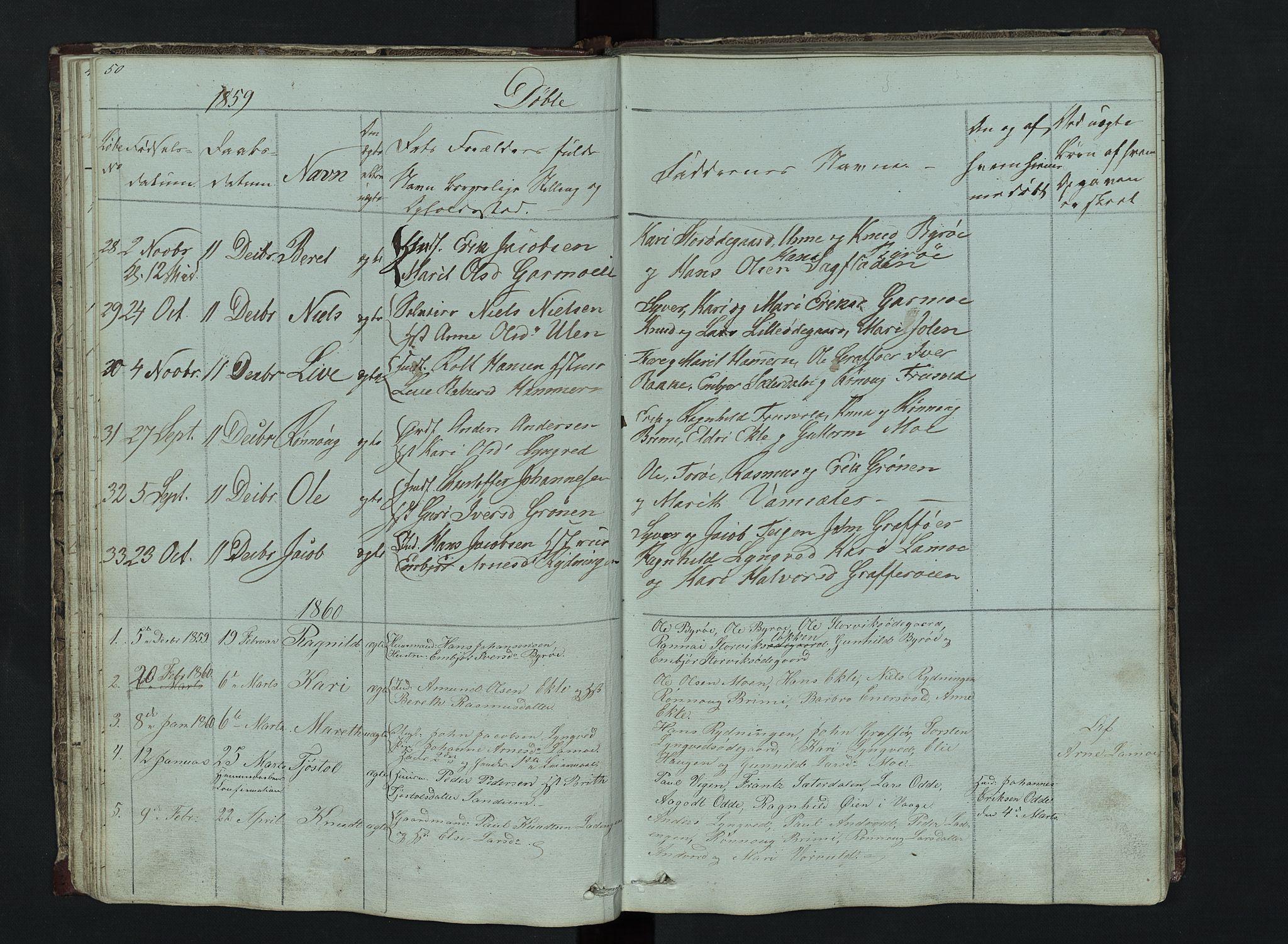 SAH, Lom prestekontor, L/L0014: Klokkerbok nr. 14, 1845-1876, s. 50-51