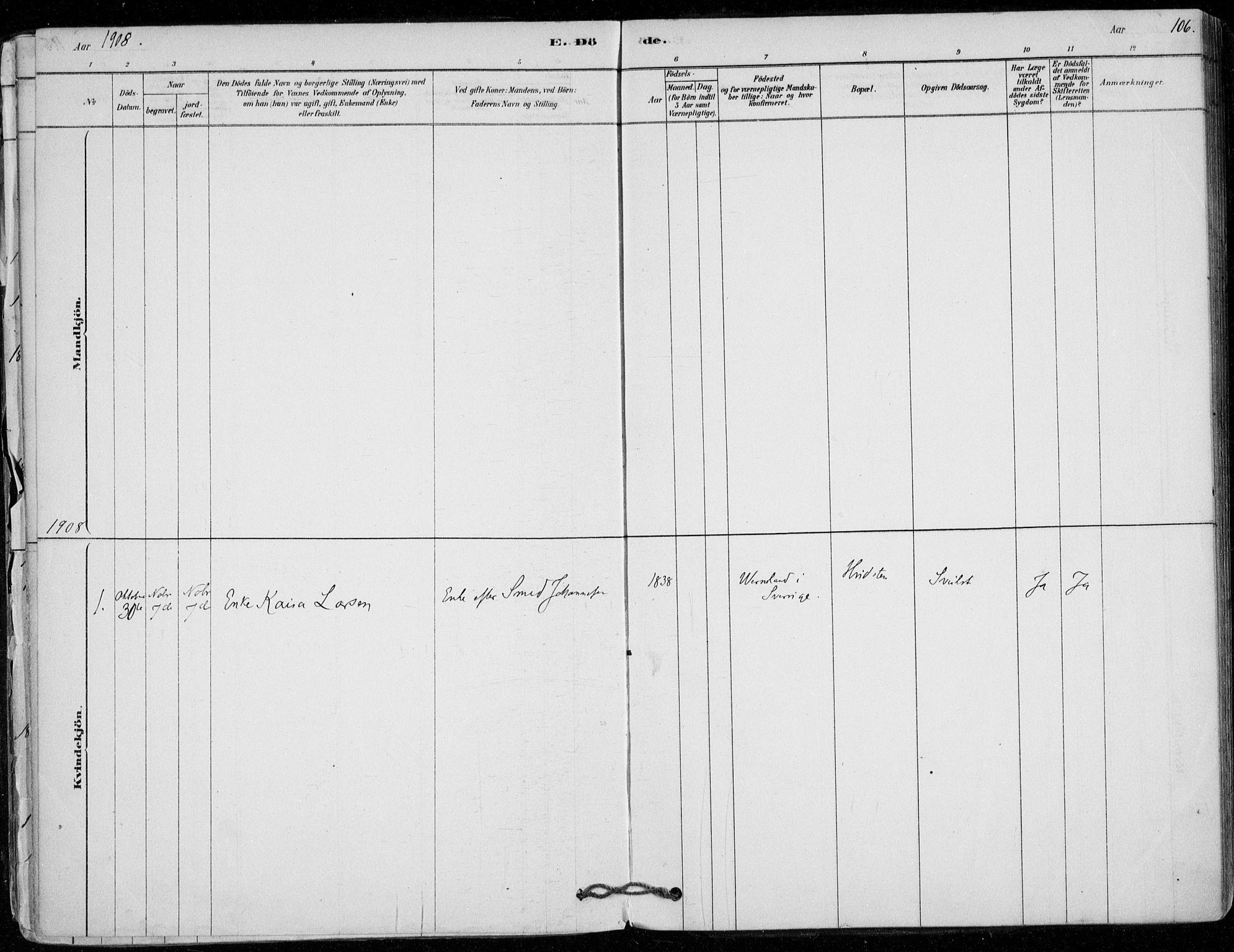 SAO, Vestby prestekontor Kirkebøker, F/Fd/L0001: Ministerialbok nr. IV 1, 1878-1945, s. 106