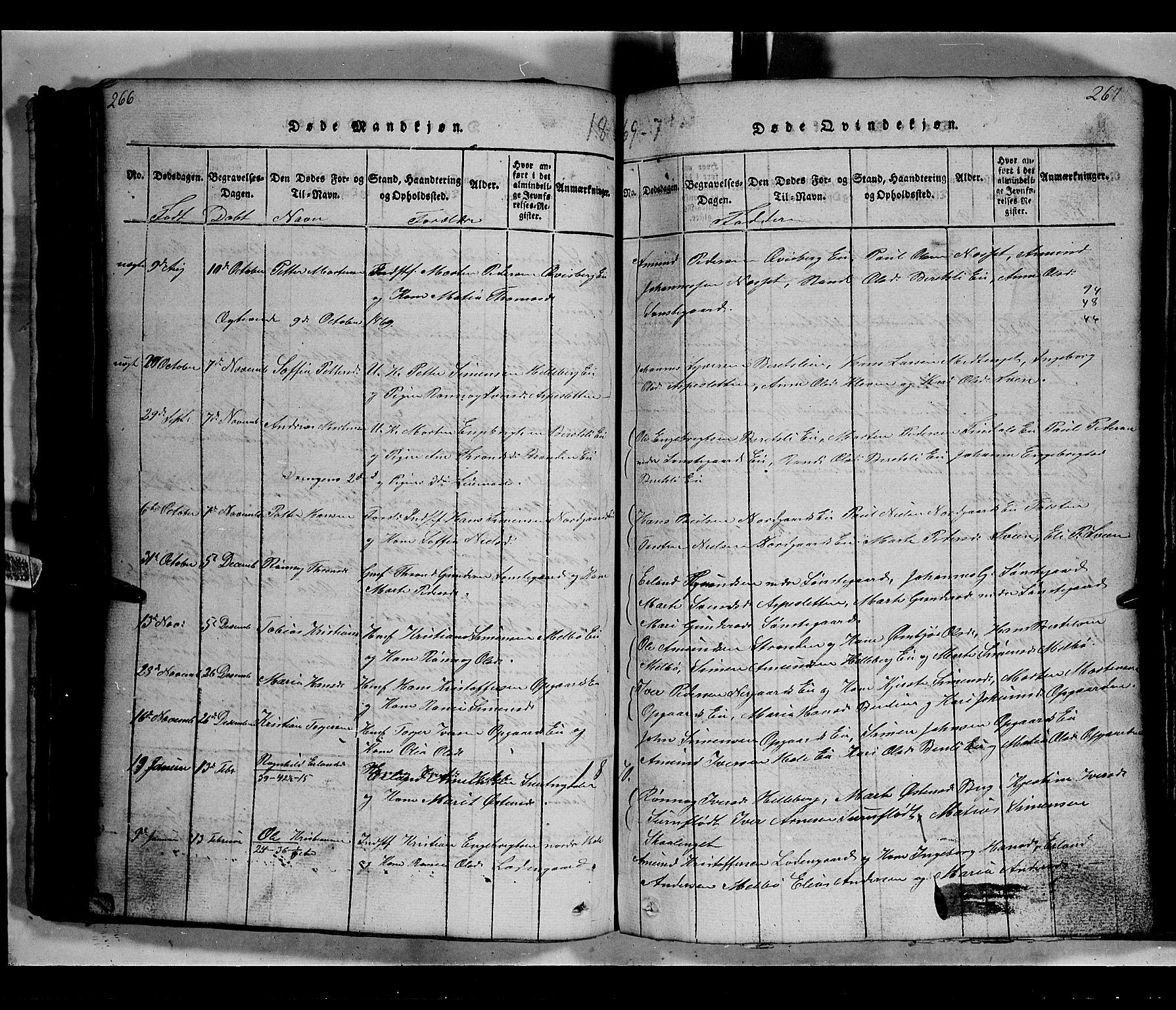 SAH, Gausdal prestekontor, Klokkerbok nr. 2, 1818-1874, s. 266-267