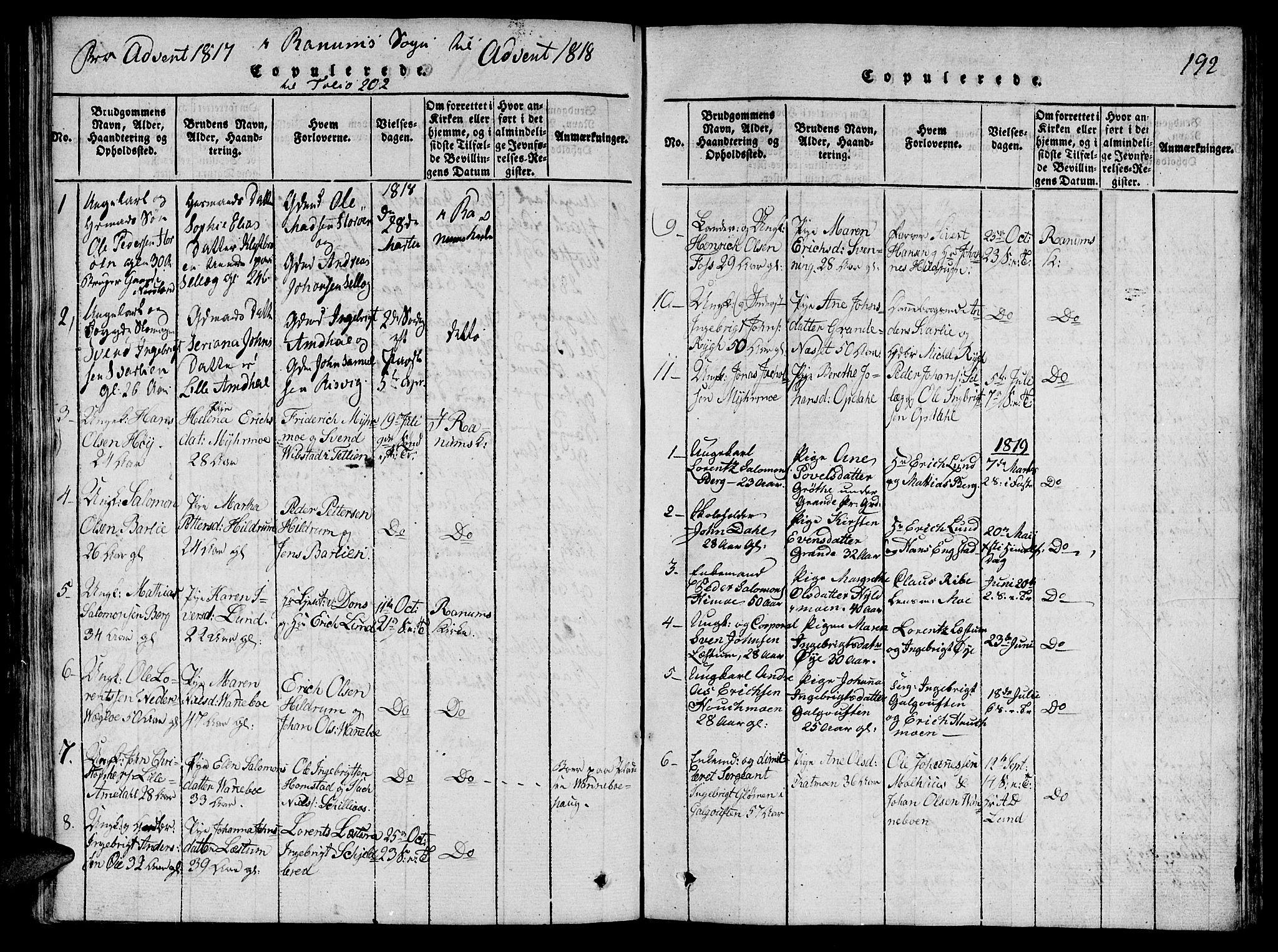 SAT, Ministerialprotokoller, klokkerbøker og fødselsregistre - Nord-Trøndelag, 764/L0546: Ministerialbok nr. 764A06 /1, 1816-1823, s. 192