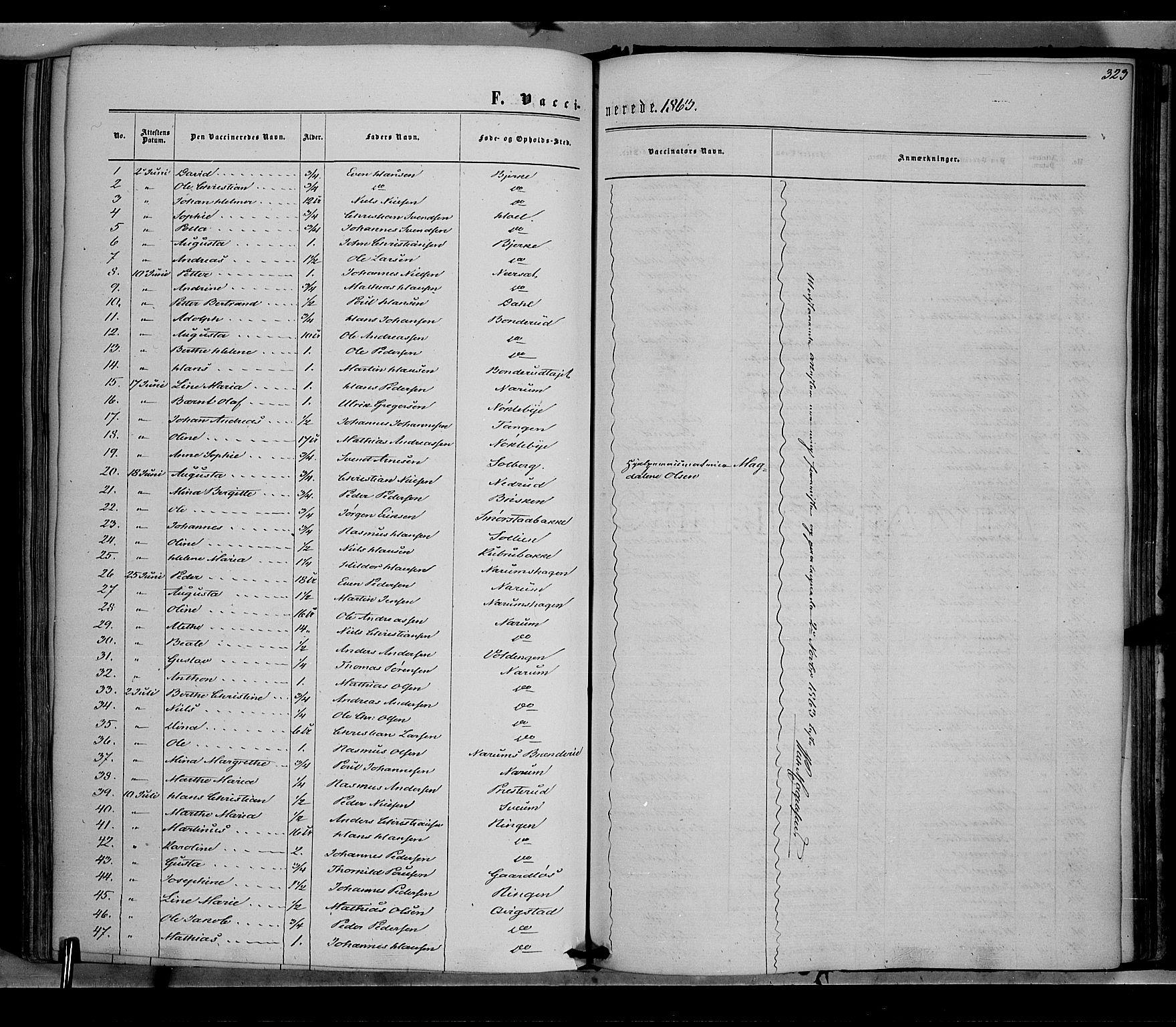 SAH, Vestre Toten prestekontor, Ministerialbok nr. 7, 1862-1869, s. 323