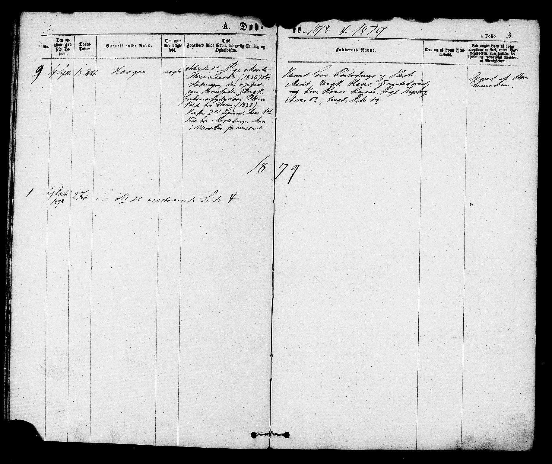 SAT, Ministerialprotokoller, klokkerbøker og fødselsregistre - Sør-Trøndelag, 608/L0334: Ministerialbok nr. 608A03, 1877-1886, s. 3