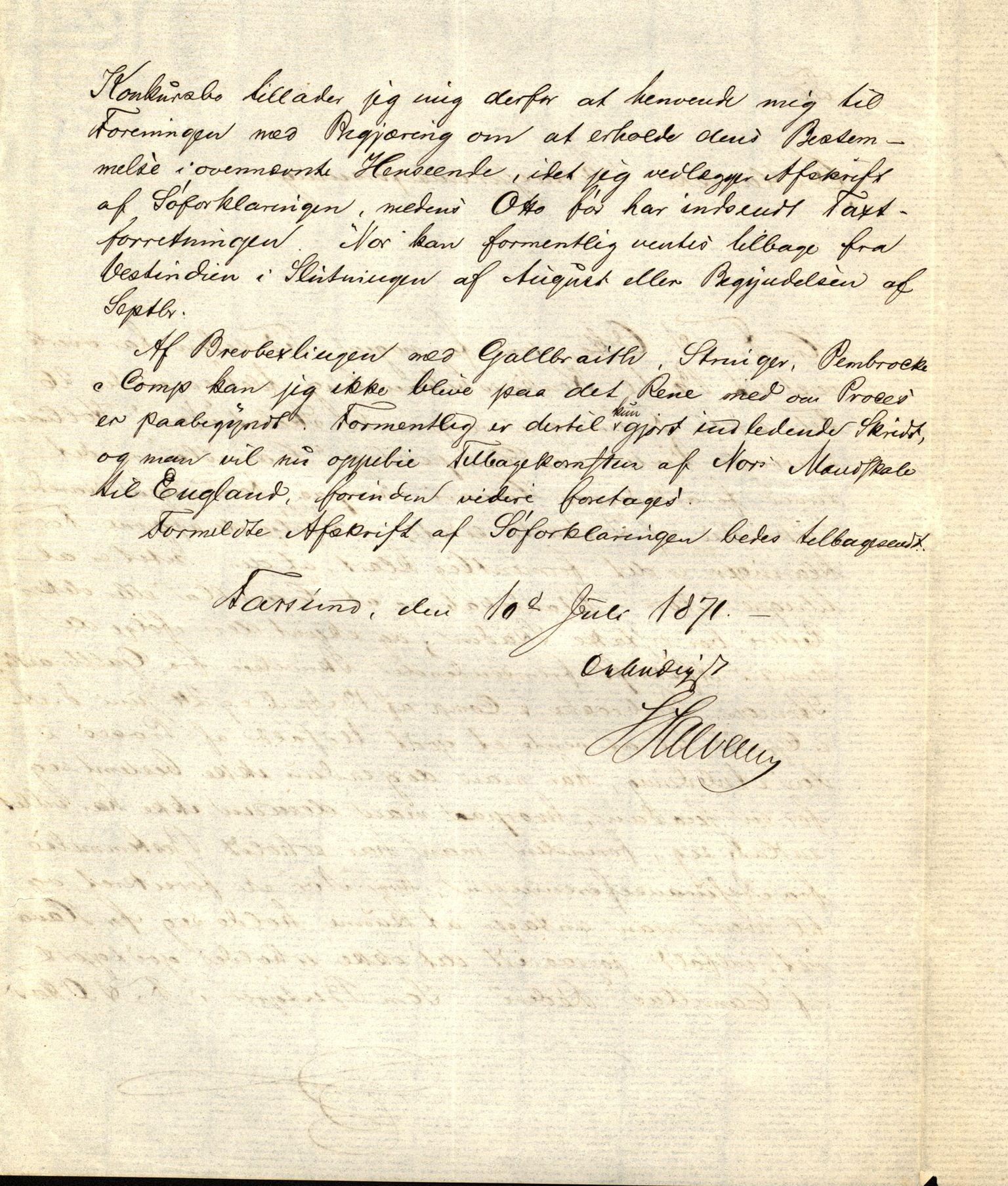 VEMU, Pa 63 - Østlandske skibsassuranceforening, G/Ga/L0003: Havaridokumenter, 1871