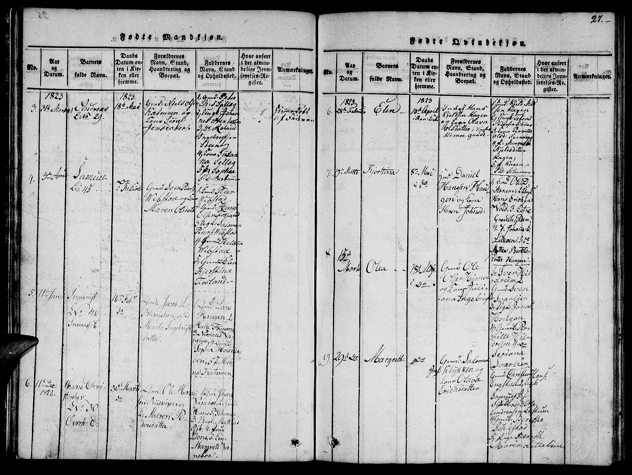 SAT, Ministerialprotokoller, klokkerbøker og fødselsregistre - Nord-Trøndelag, 764/L0559: Klokkerbok nr. 764C01, 1816-1824, s. 27