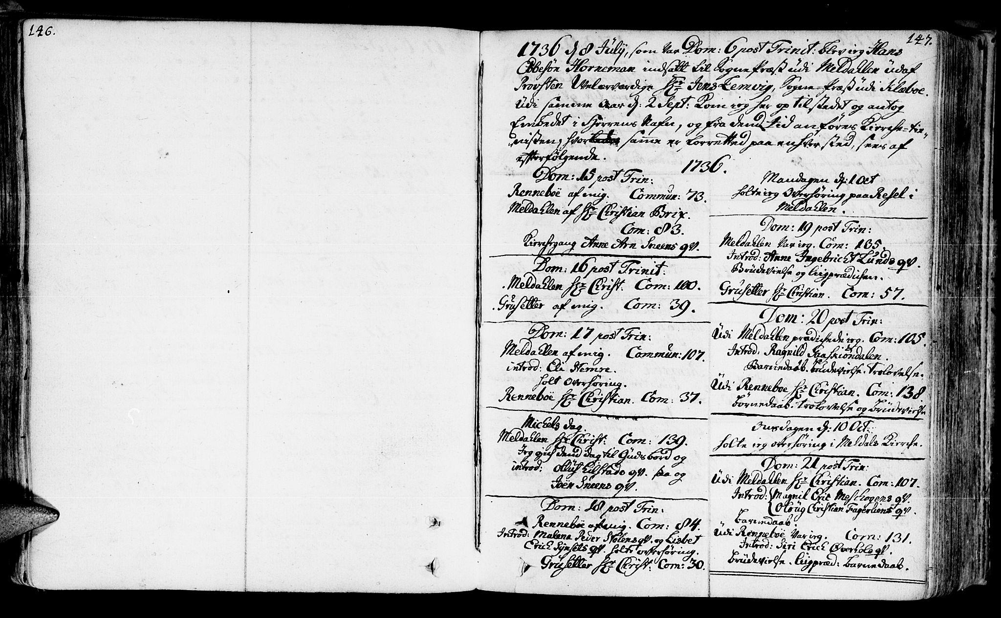 SAT, Ministerialprotokoller, klokkerbøker og fødselsregistre - Sør-Trøndelag, 672/L0850: Ministerialbok nr. 672A03, 1725-1751, s. 146-147
