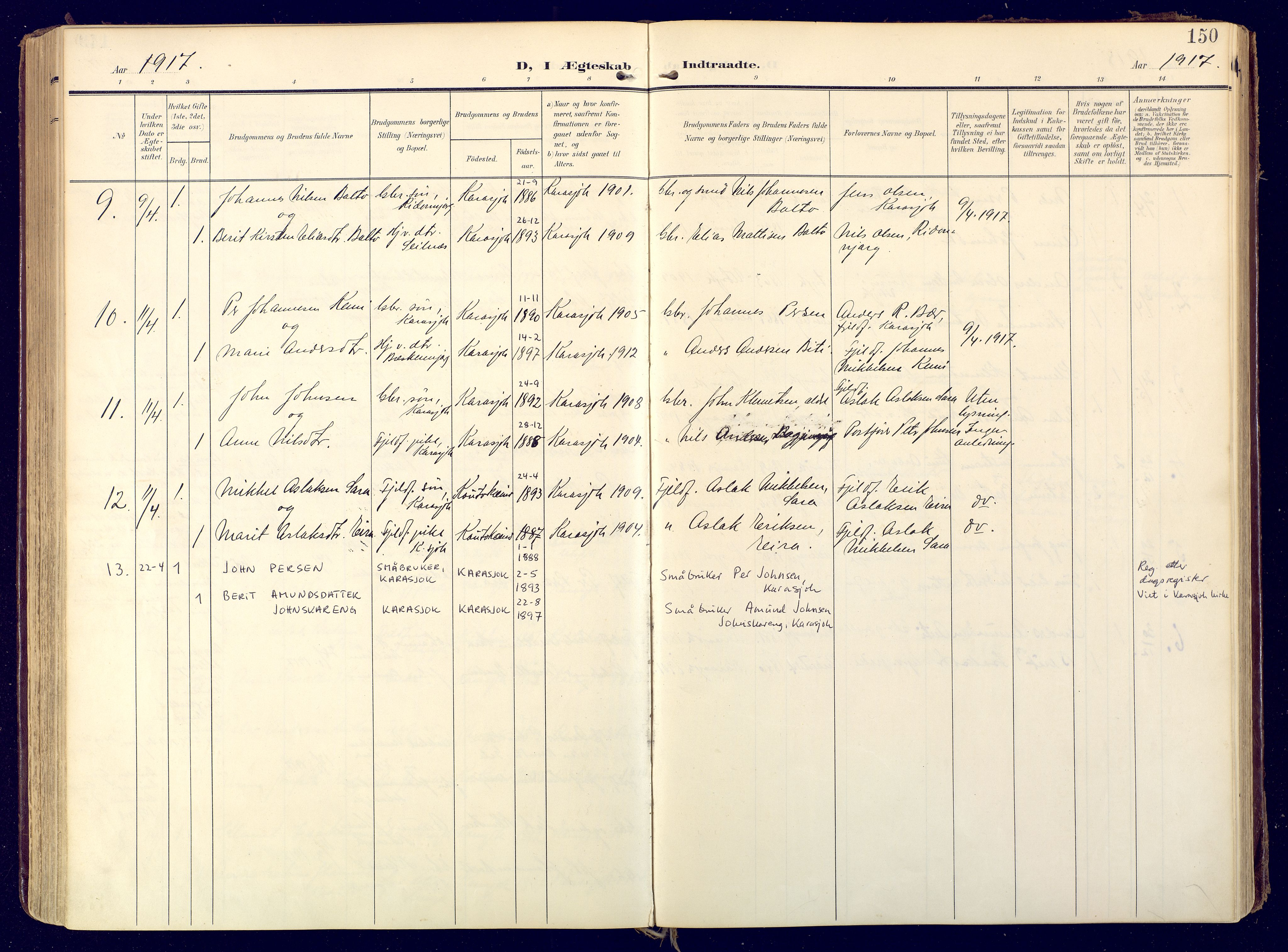 SATØ, Karasjok sokneprestkontor, H/Ha: Ministerialbok nr. 3, 1907-1926, s. 150