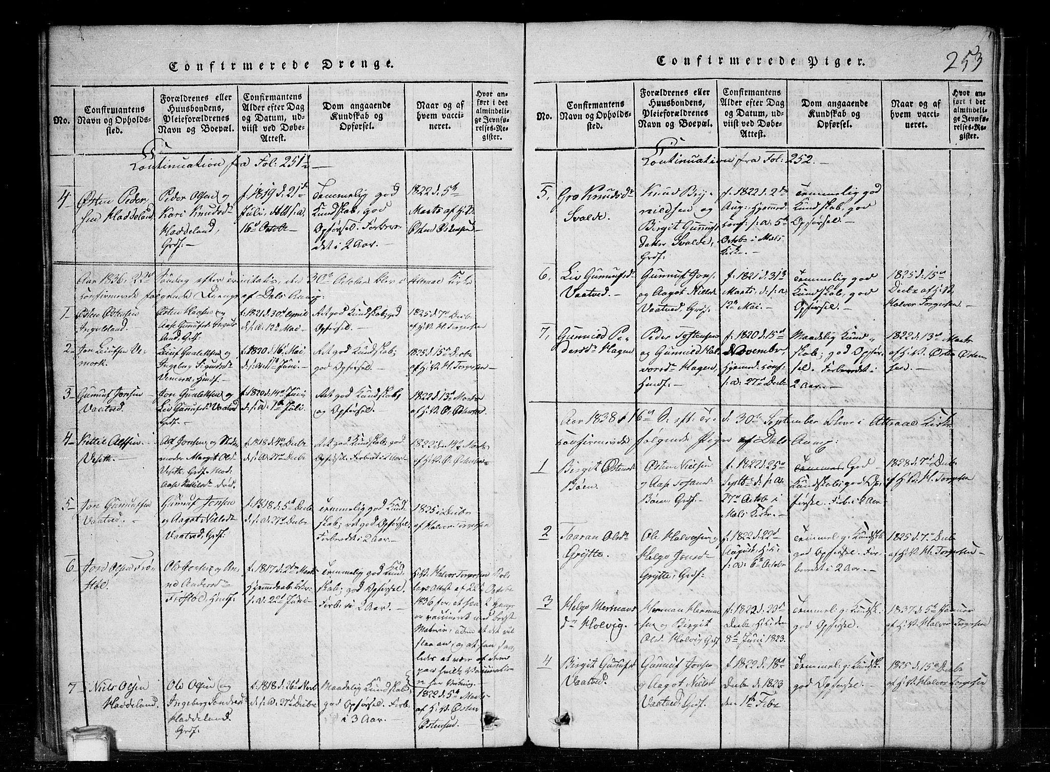 SAKO, Tinn kirkebøker, G/Gc/L0001: Klokkerbok nr. III 1, 1815-1879, s. 253