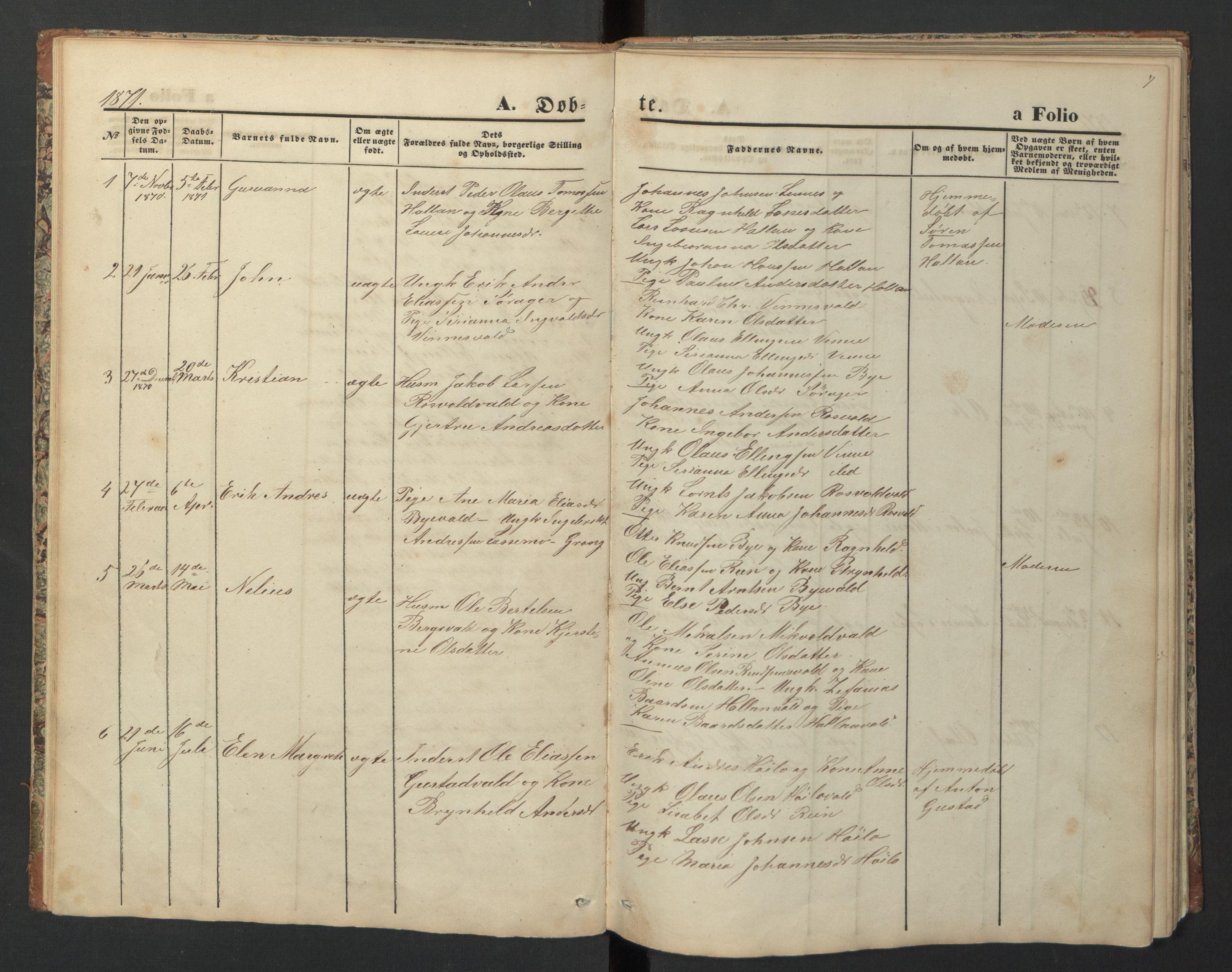 SAT, Ministerialprotokoller, klokkerbøker og fødselsregistre - Nord-Trøndelag, 726/L0271: Klokkerbok nr. 726C02, 1869-1897, s. 7