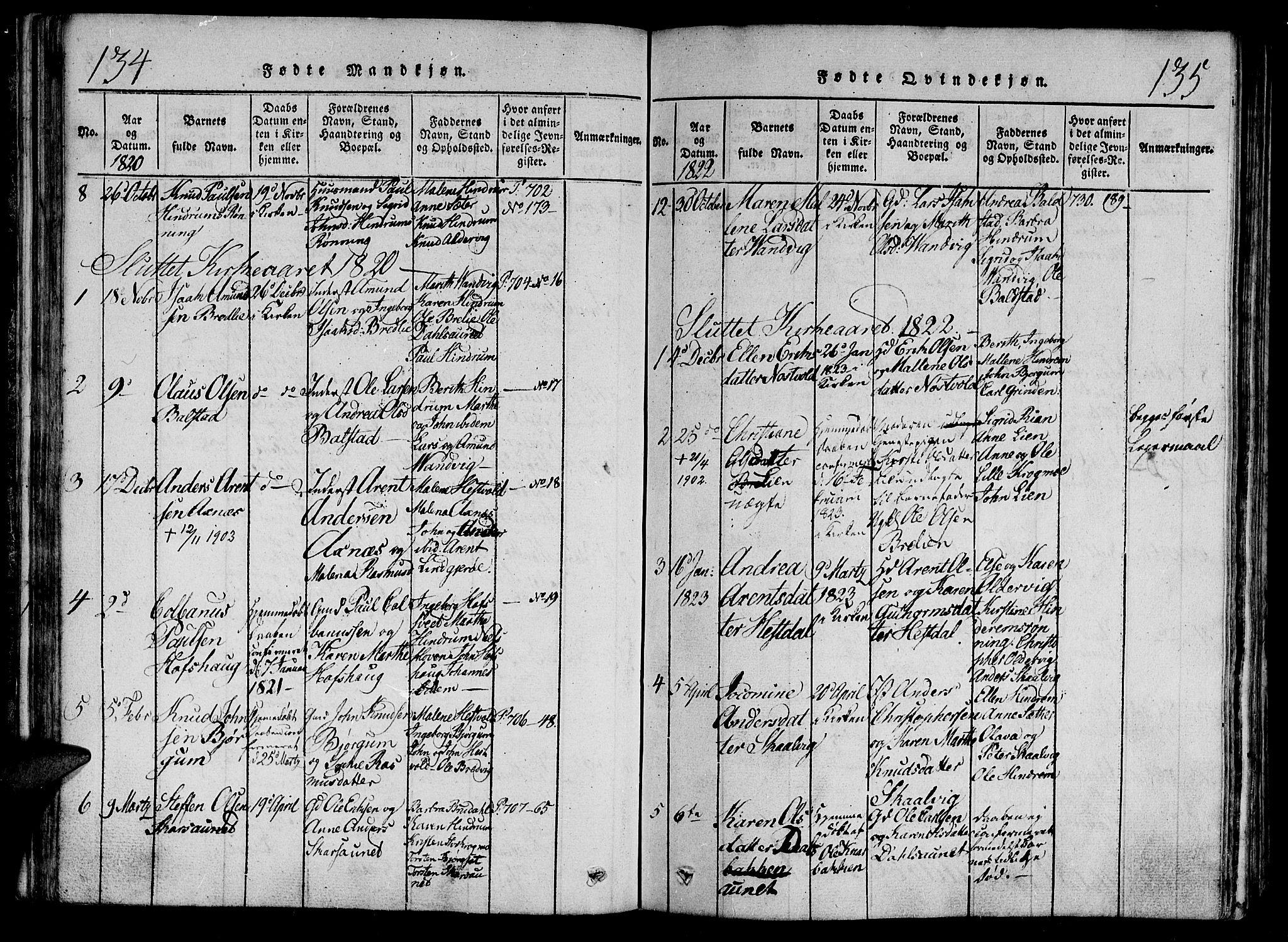 SAT, Ministerialprotokoller, klokkerbøker og fødselsregistre - Nord-Trøndelag, 701/L0005: Ministerialbok nr. 701A05 /2, 1816-1825, s. 134-135